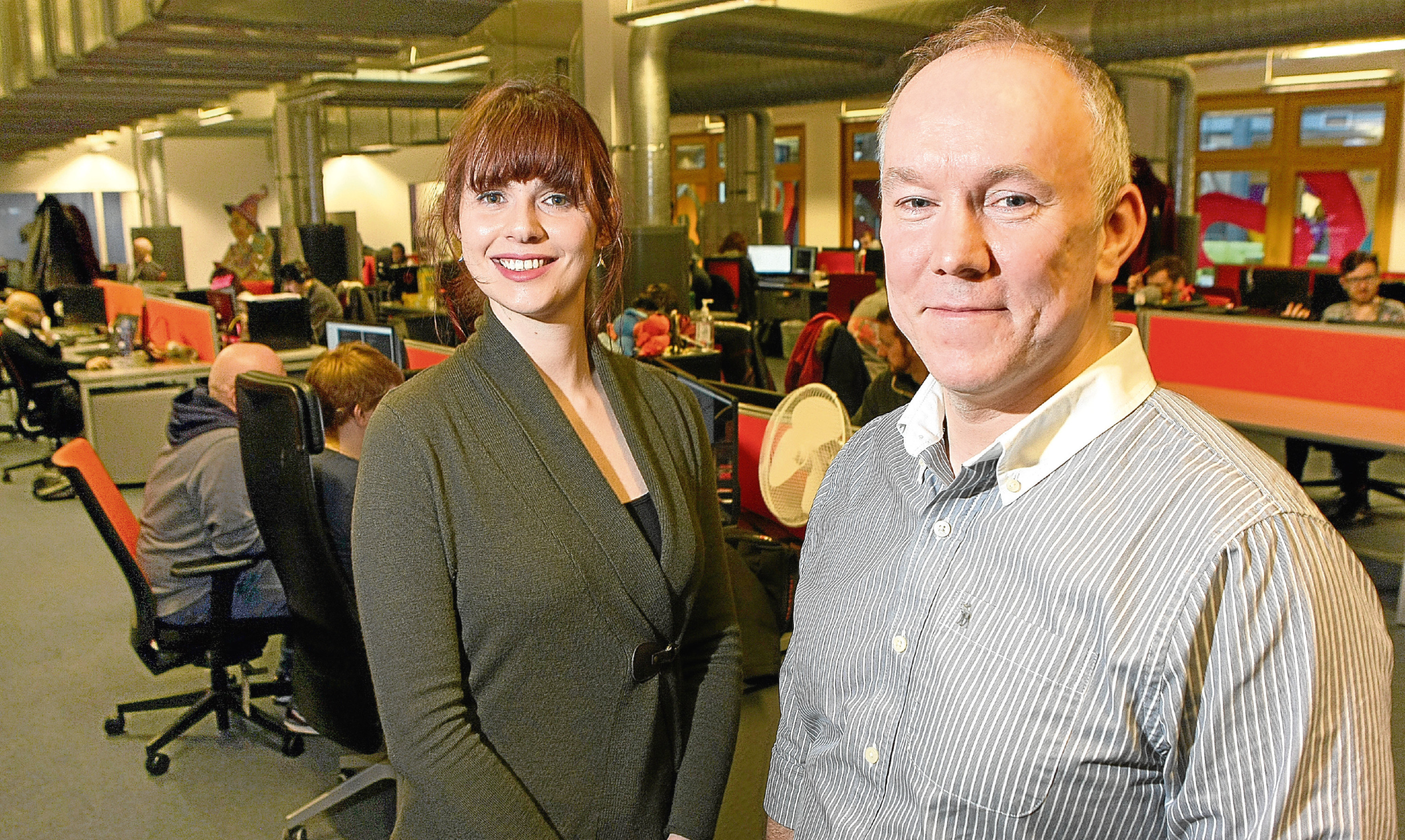 Lynne Martin - Project Manager at Elevator and Andy Campbell - Accelerator Manager at Elevator in Outplay Entertainment's offices