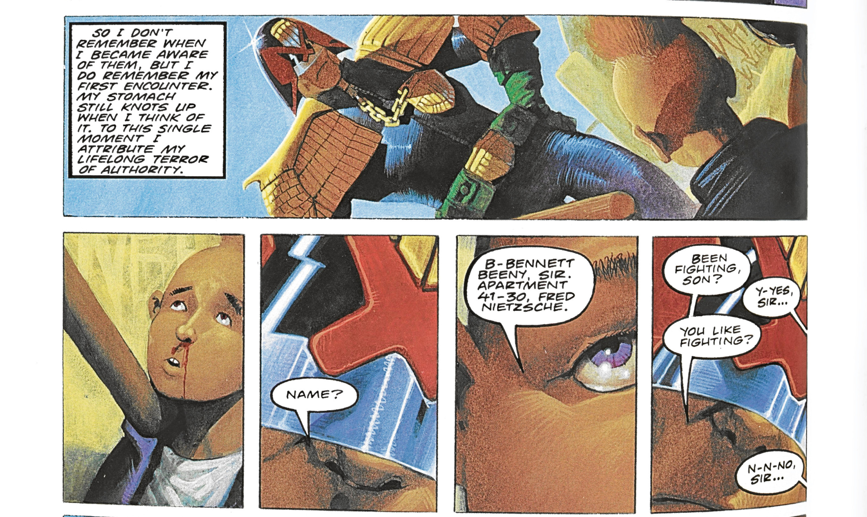 A Judge Dredd comic strip. This coming weekend marks the 40th anniversary of 2000 AD comic, which has had a profound effect on Mike.