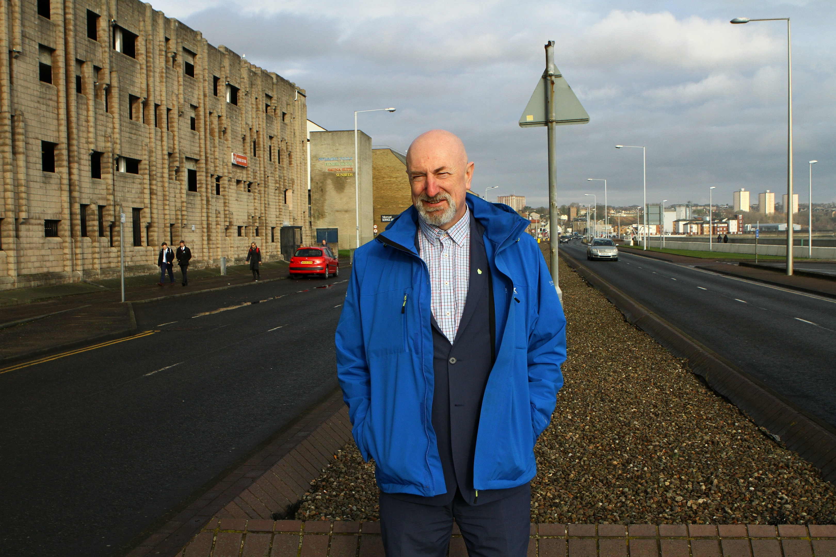Councillor Neil Crooks on the Esplanade at Kirkcaldy.