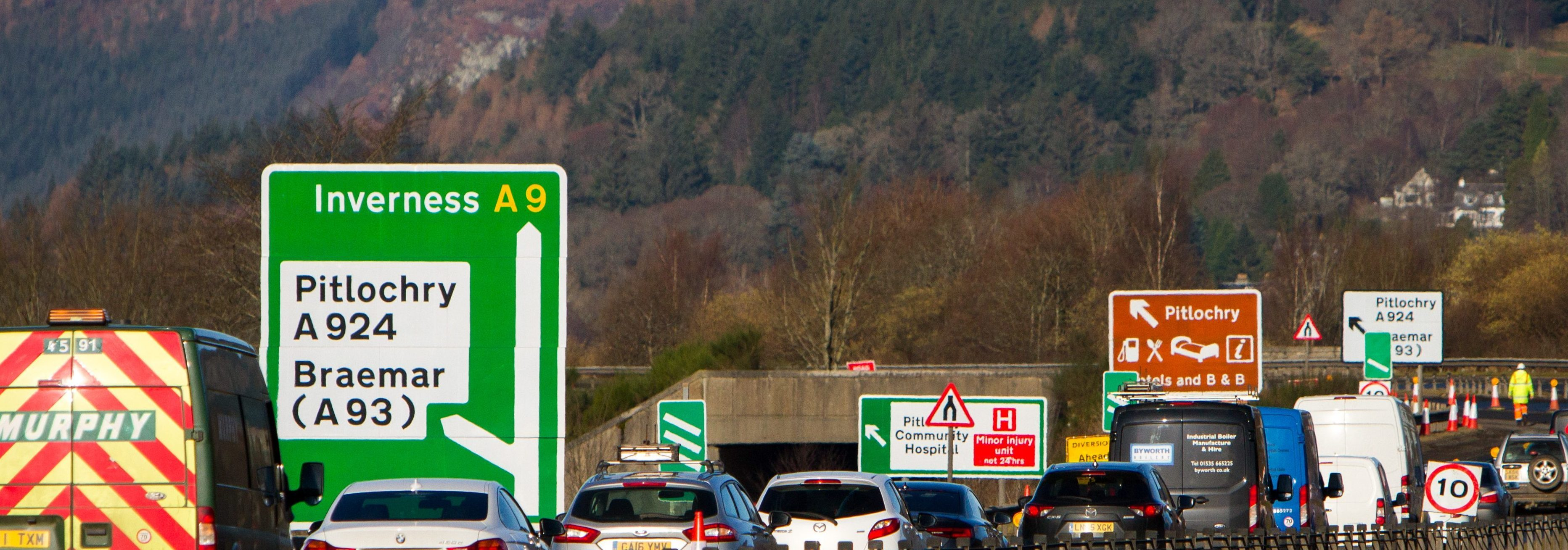 Previous roadworks at Pitlochry on the A9.