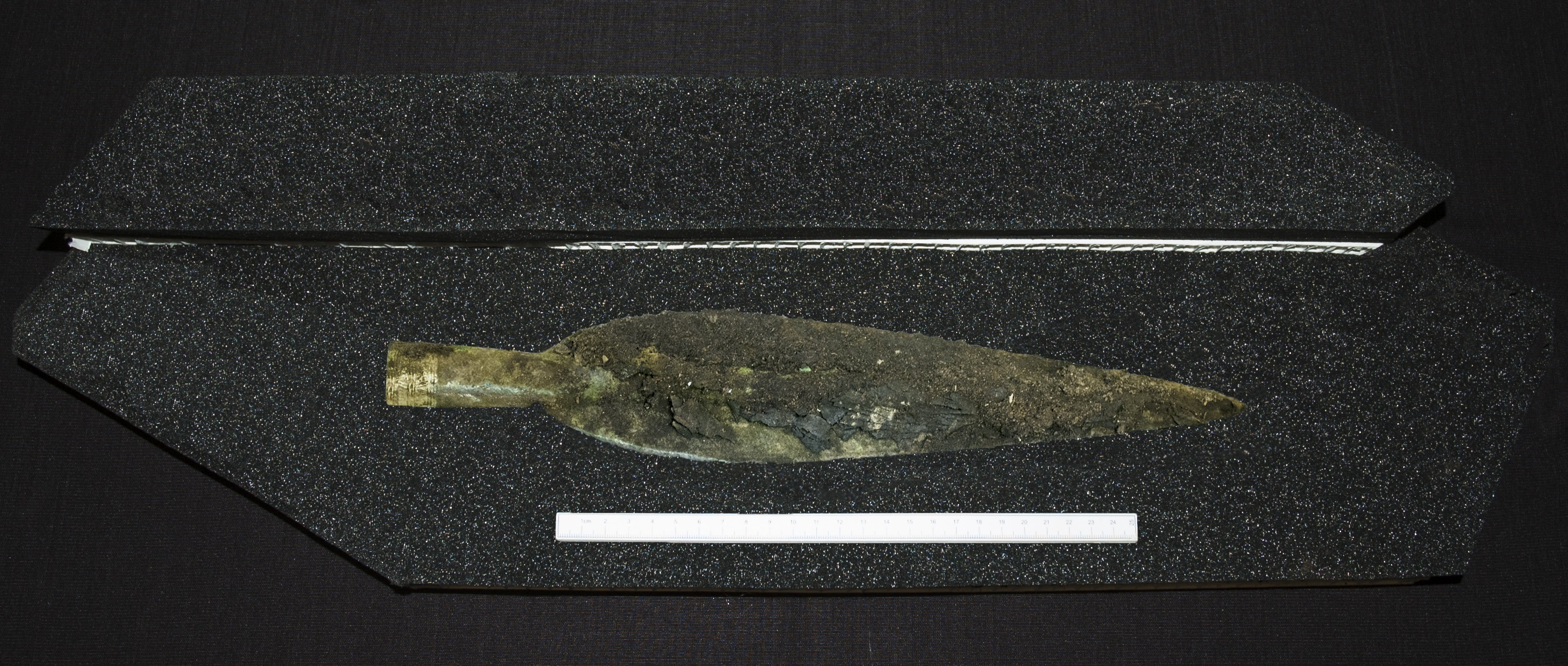 The gold decorated bronze spearhead found at Carnoustie