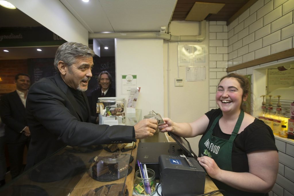 Actor George Clooney during a 2015 visit to Social Bite's sandwich shop