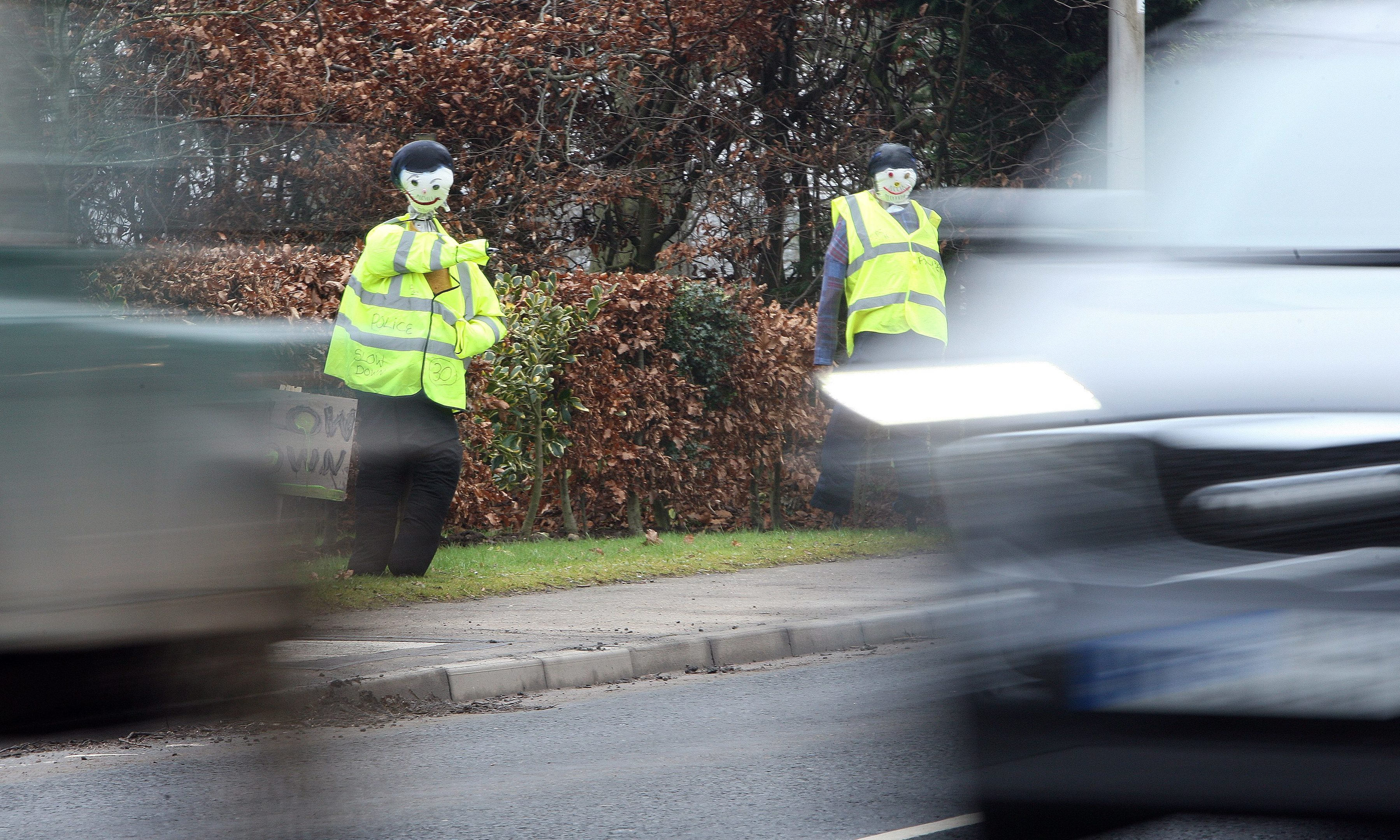 Scarecrow police were installed at the roadside in Coupar Angus.