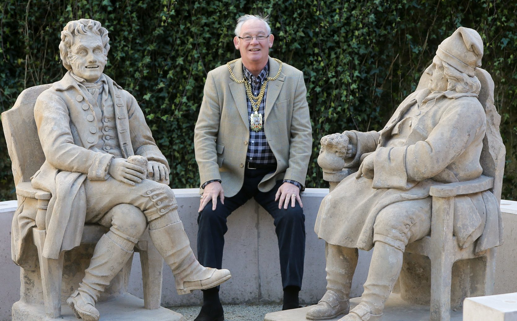 The Provost meets Tam O'Shanter and Soutar Johnnie in the museum gardens.