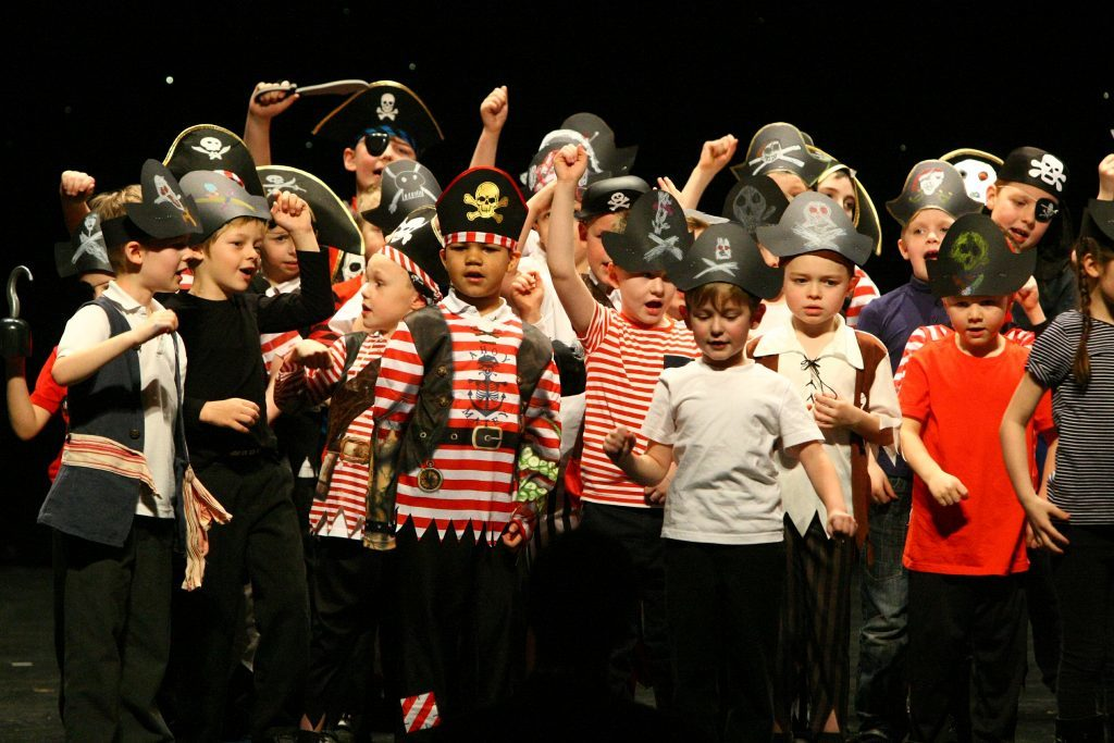 Courier News - Fife story - Fife Festival Of Music - Carnegie Hall - Dunfermline. Picture shows; the primary 2 and primary 4 pupils from Crossford Primary School performing their pirate songs, at the Fife Festival Of Music, in the Carnegie Hall in Dunfermline today. Tuesday 31st January 2017.