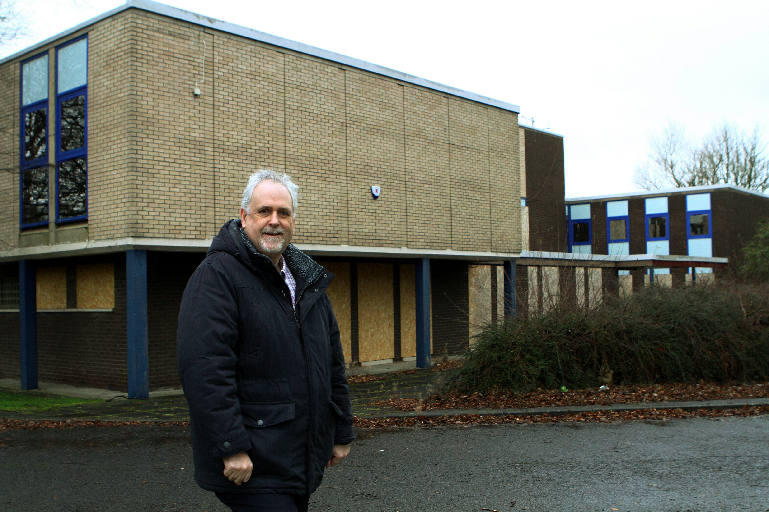 Councillor Bill Brown standing at the former police station on Napier Road in Glenrothes.