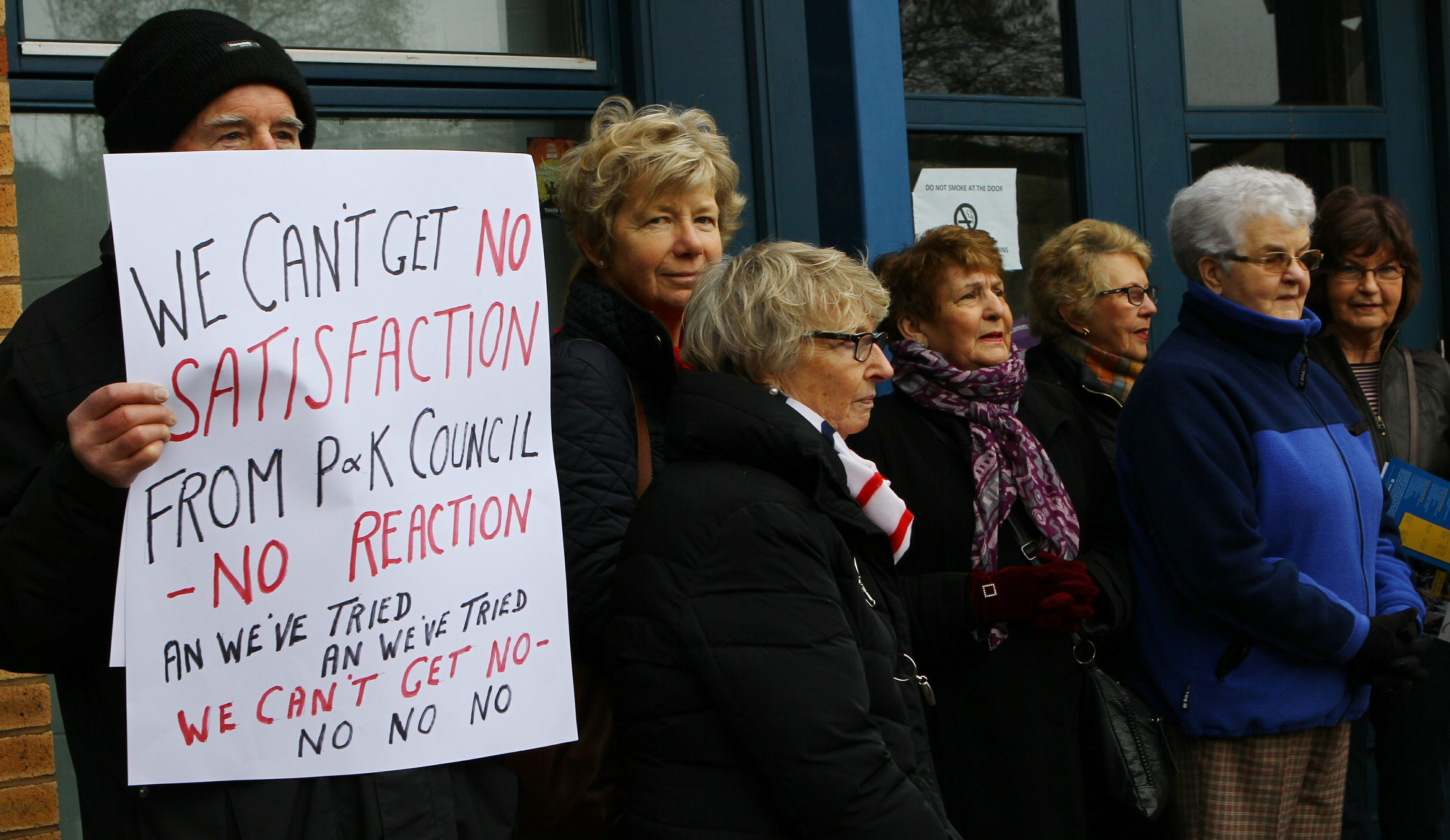 Protesters outside the Letham Centre