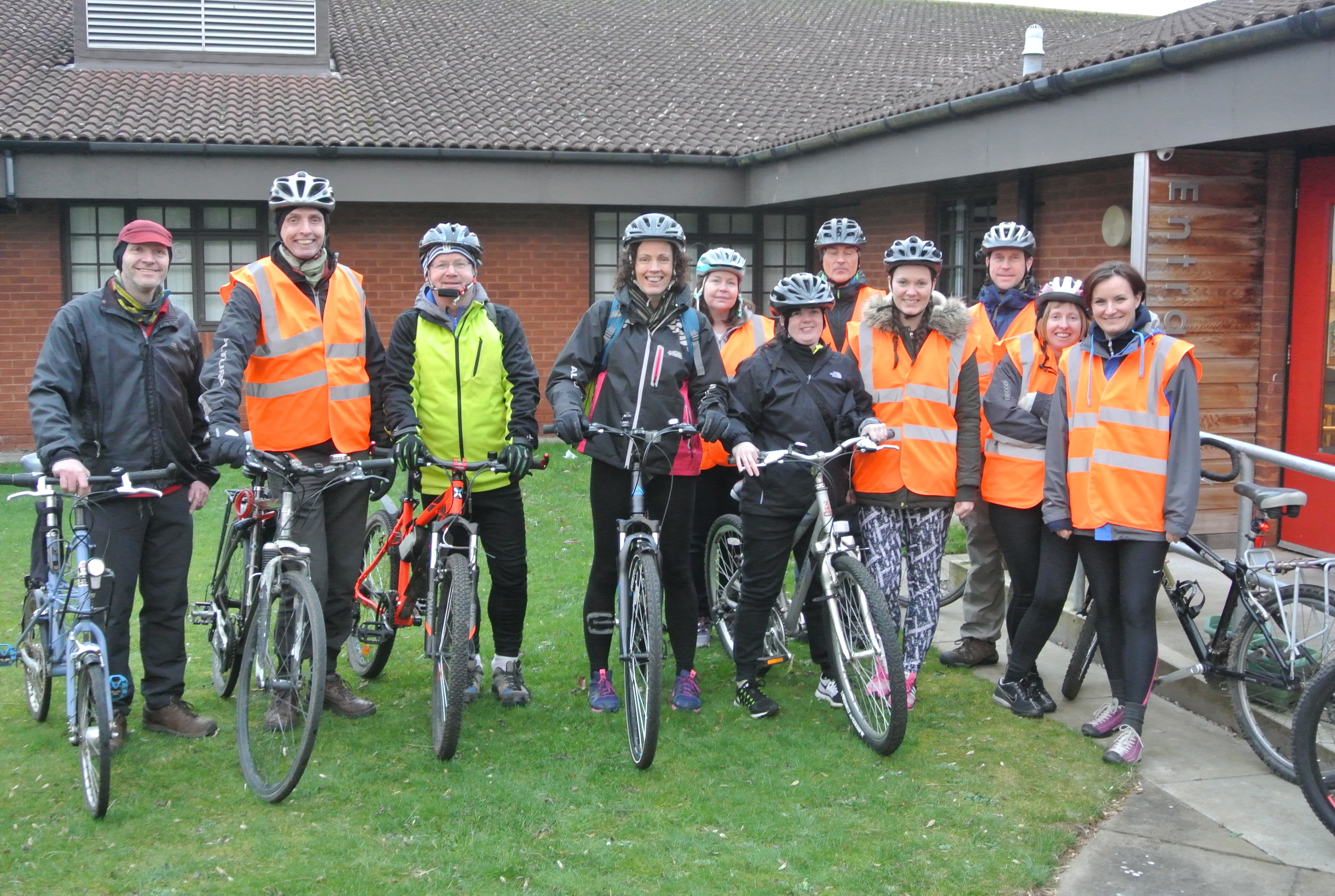 Teachers and volunteers undertaking the Bikeability cycle trainer assistant award at Inverbrothock Primary School.