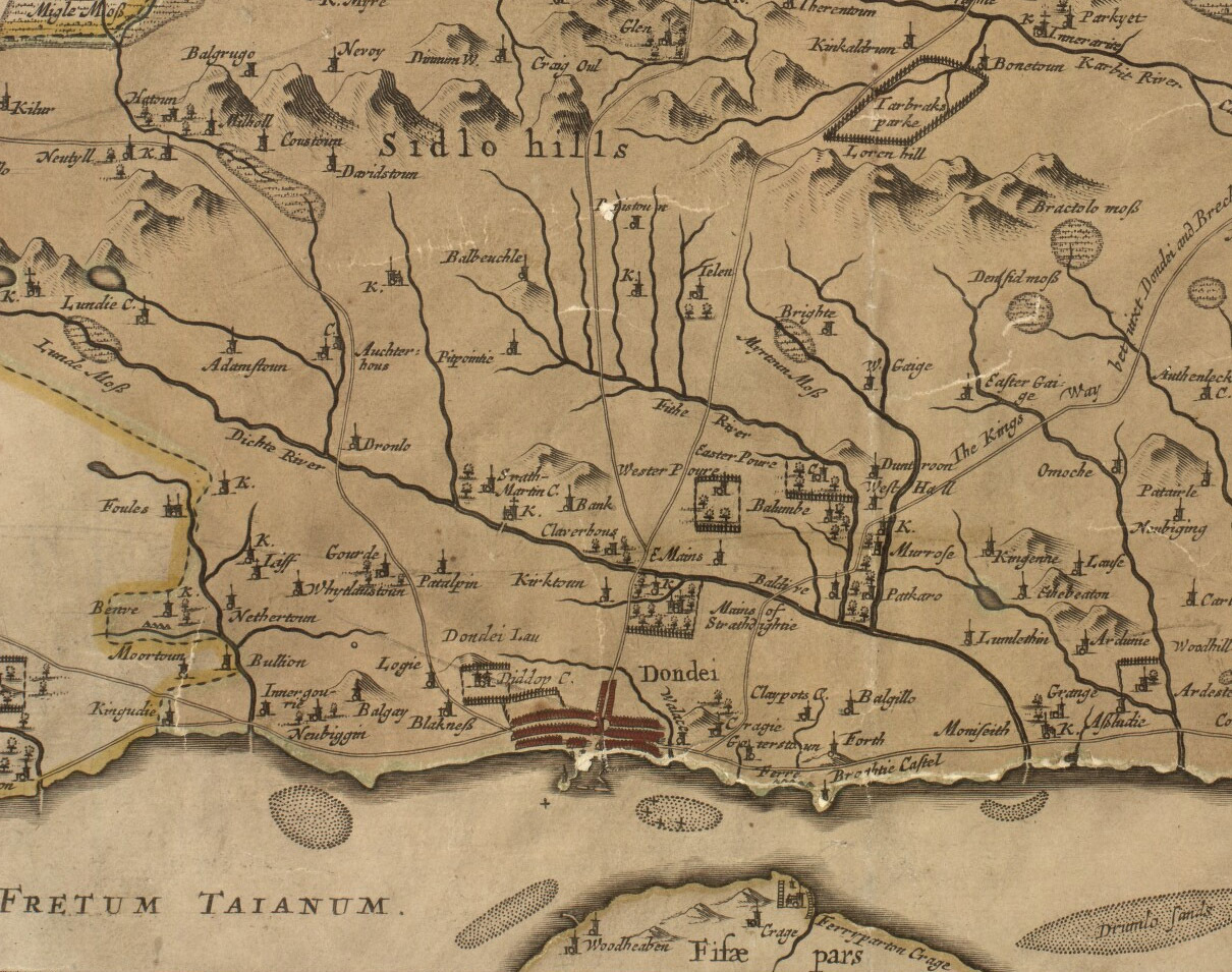 This 1678 map was created by Robert Edward and is entitled 'Angusia Provincia Scotiae sive' or 'The Shire of Angus'