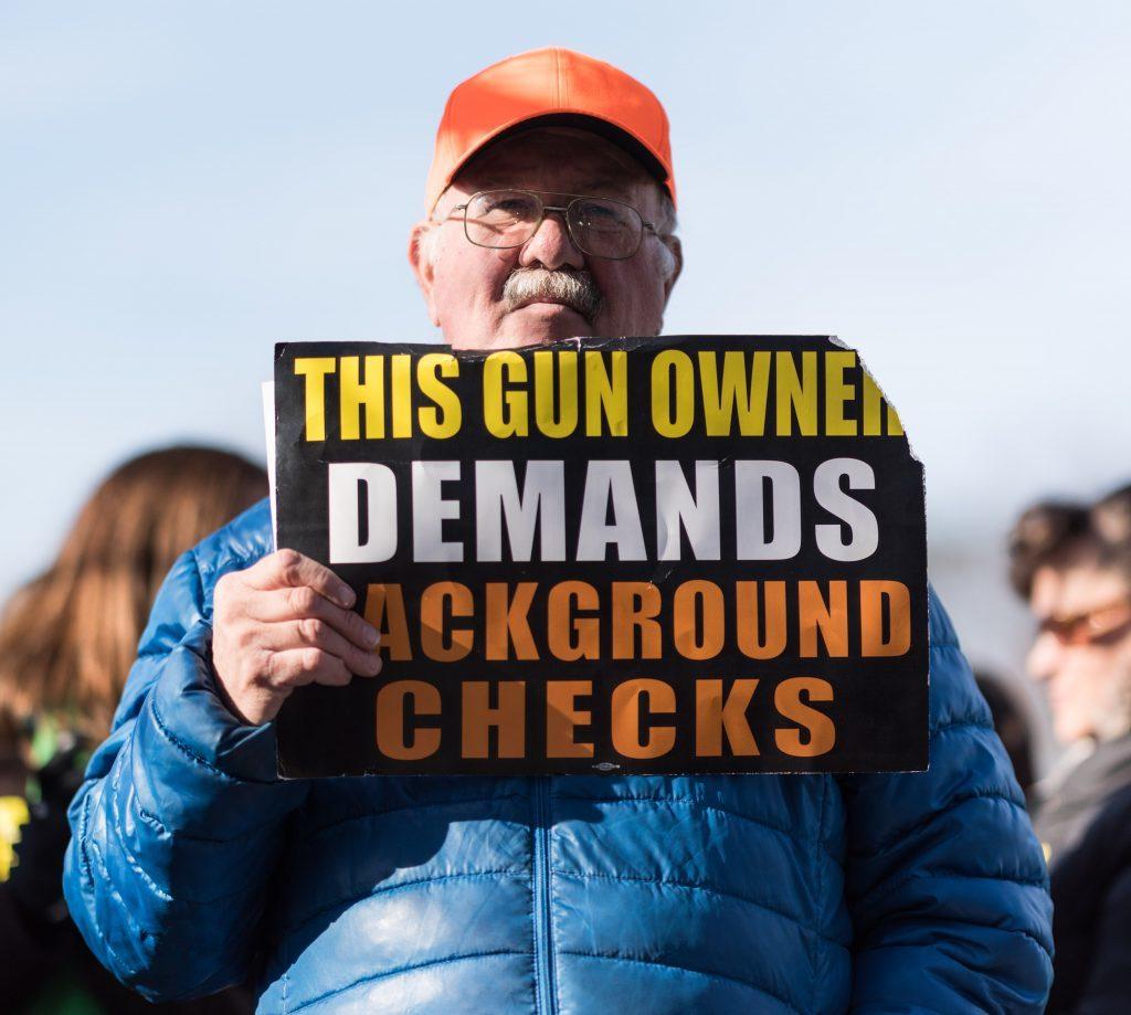 A protestor outside the National Rifle Association Headquarters, Fairfax VA. 14 December 2016