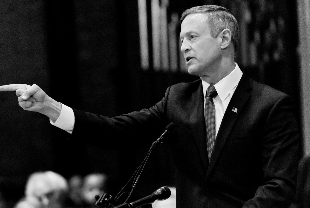 Former Governor of Maryland Martin O'Malley addresses attendees at the National Vigil for All Victims of Gun Violence, St Mark's Church, Washington D.C. 14 December 2016