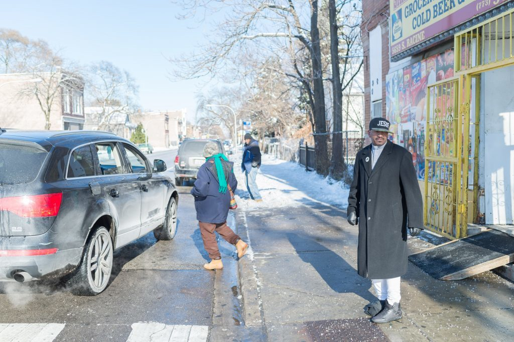 Pastor Dwayne Mystro Grant on the spot where three young men died in two separate shootings in one week in September 2016. Chicago IL, 13 December 2016