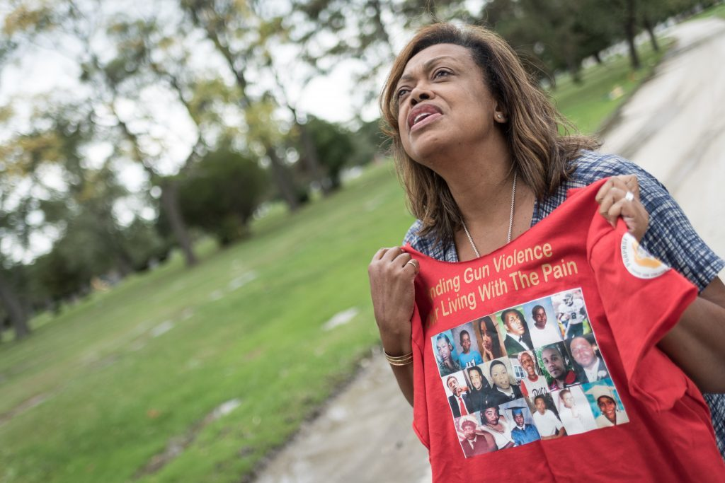 Gun violence prevention campaigner Marsha Lee of Chicago whose son Tommy was murdered in a random shooting in 2008. Chicago IL, 7 October 2016
