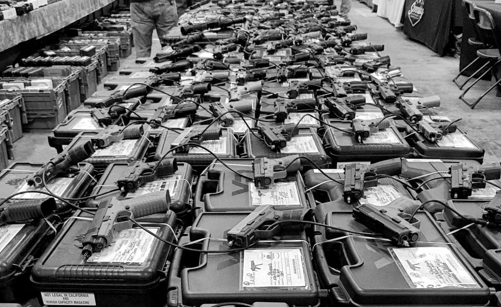 Hundreds of guns for sale at a gun show in Lewisville, TX. 4 December 2016