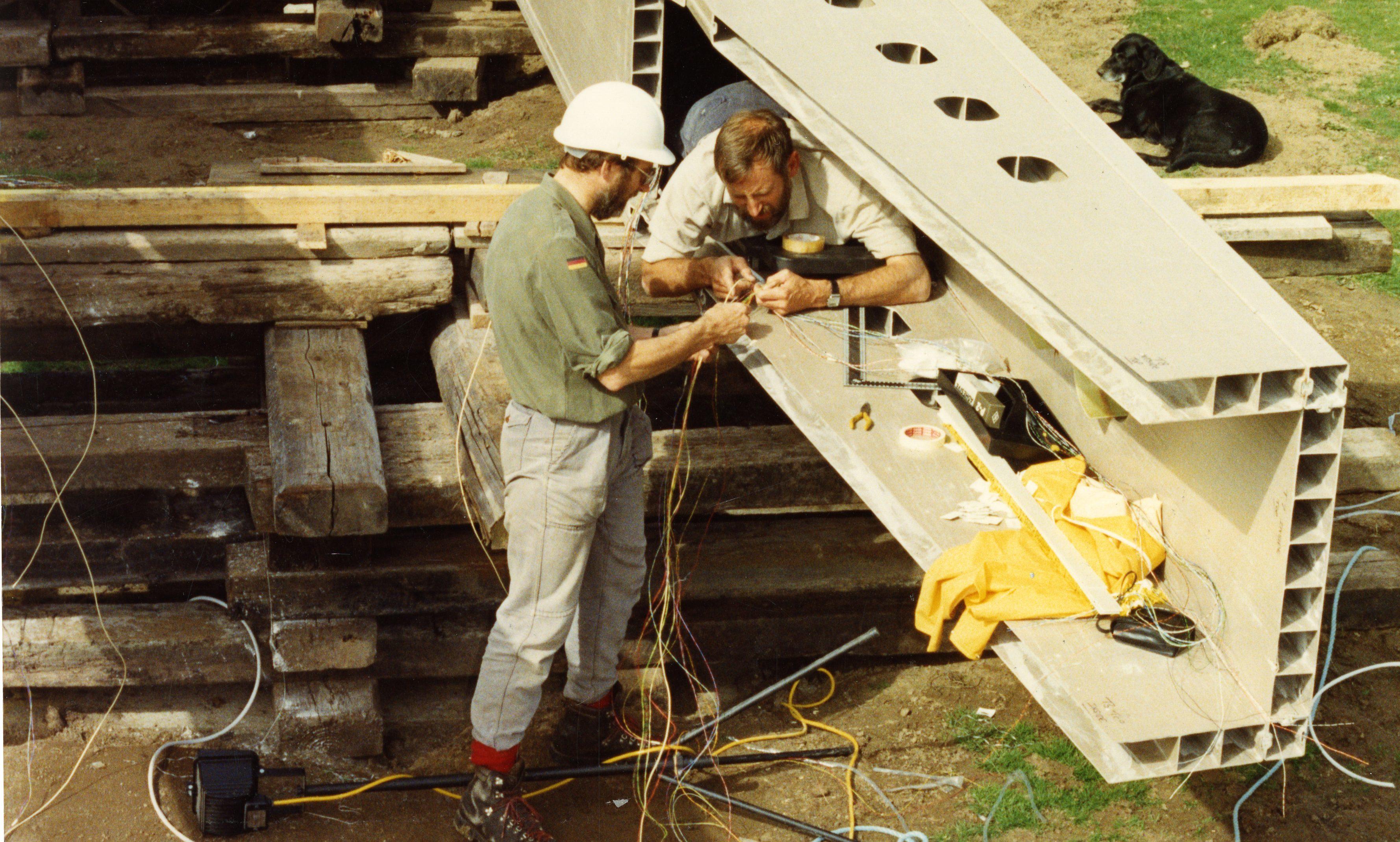 The bridge under construction in 1992.