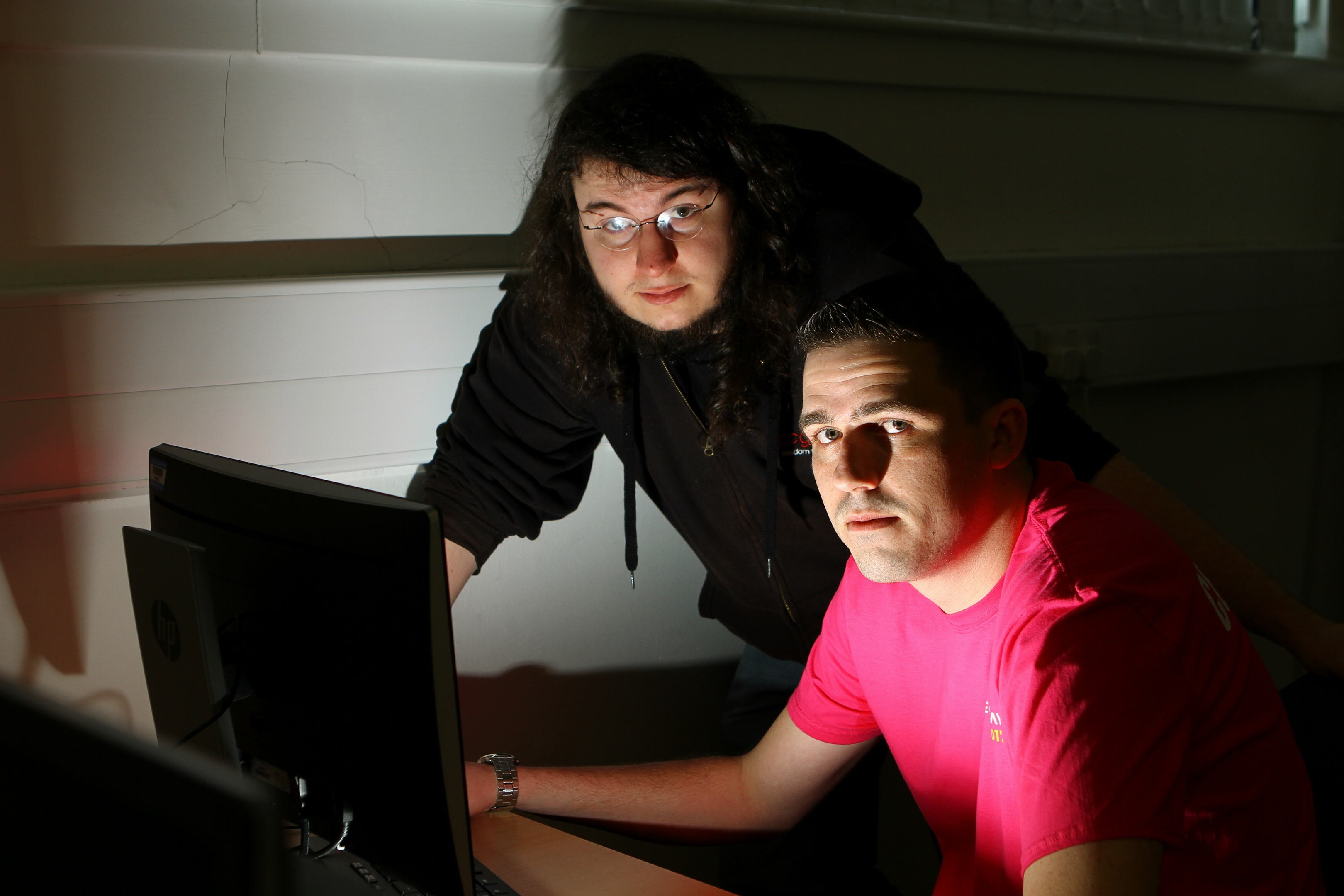 Former Abertay graduate Gavin Holt and William Goard, president of the Abertay Ethical Hacking Society.