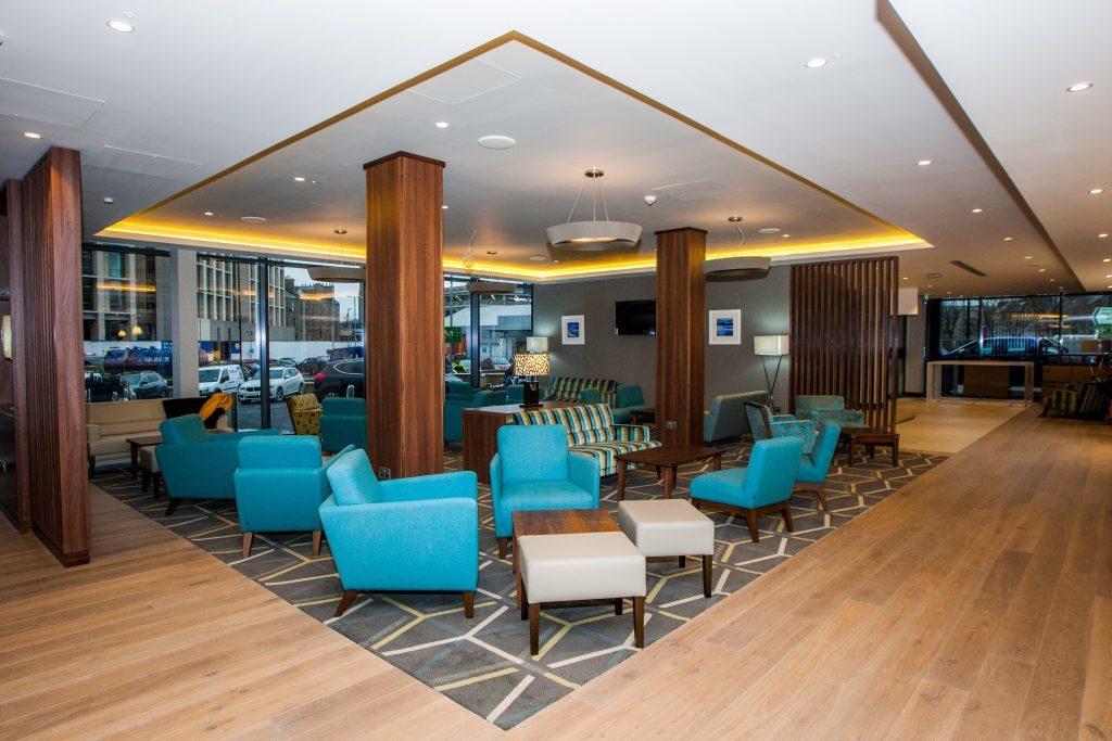 The lobby area has a contemporary feel.