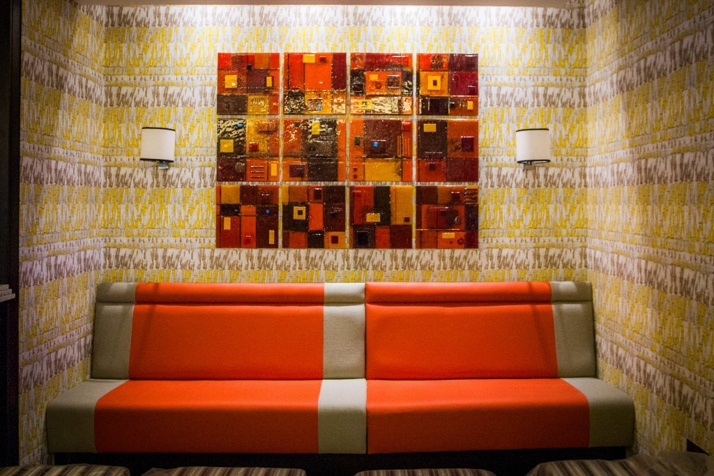 The hotel features varied artworks.