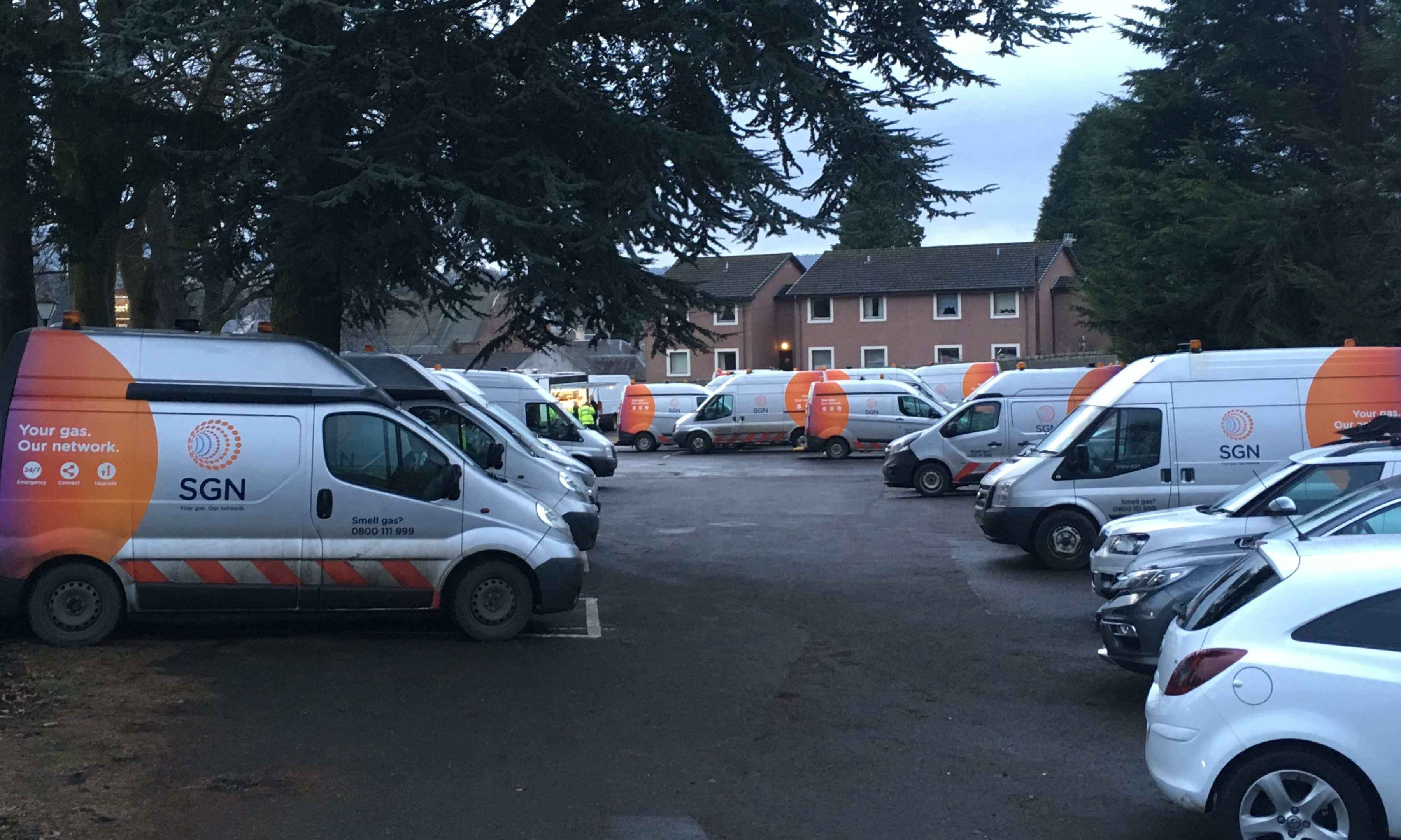 Engineers from across Scotland have arrived in Scone for major gas emergency work.