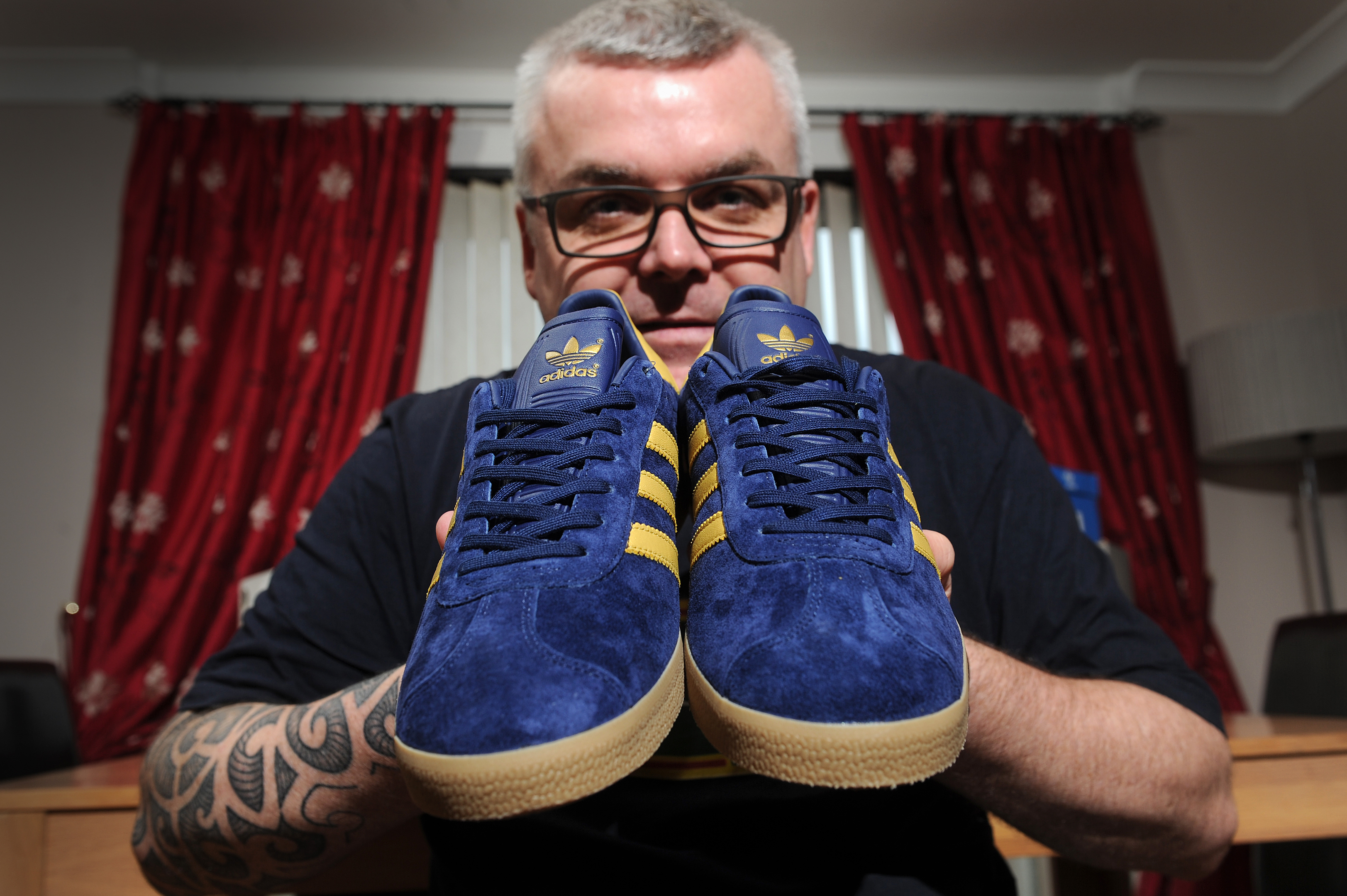 Alan Stewart with the trainers he has just added to his collection.