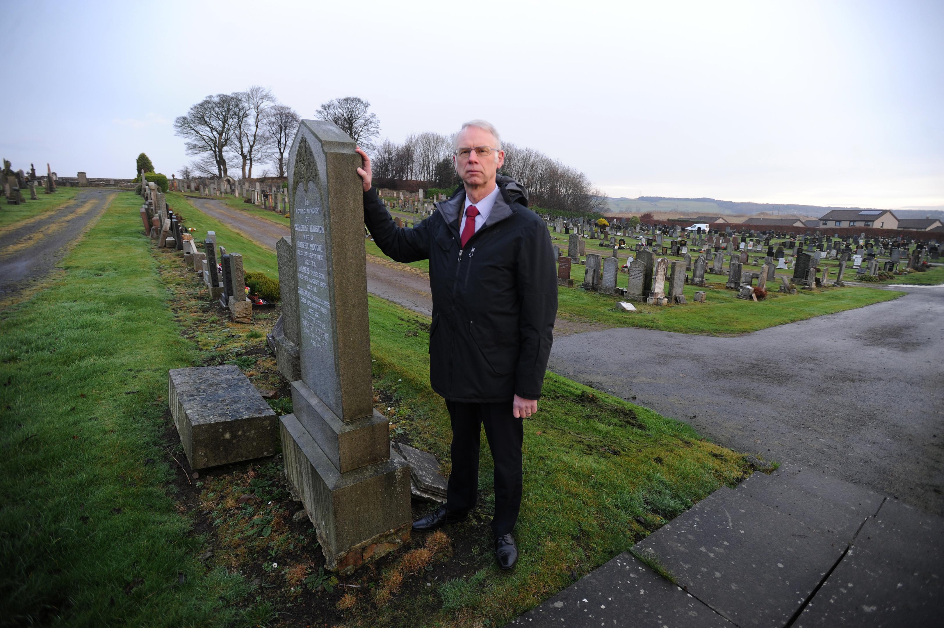 Councillor John Wincott in  Leslie cemetery.