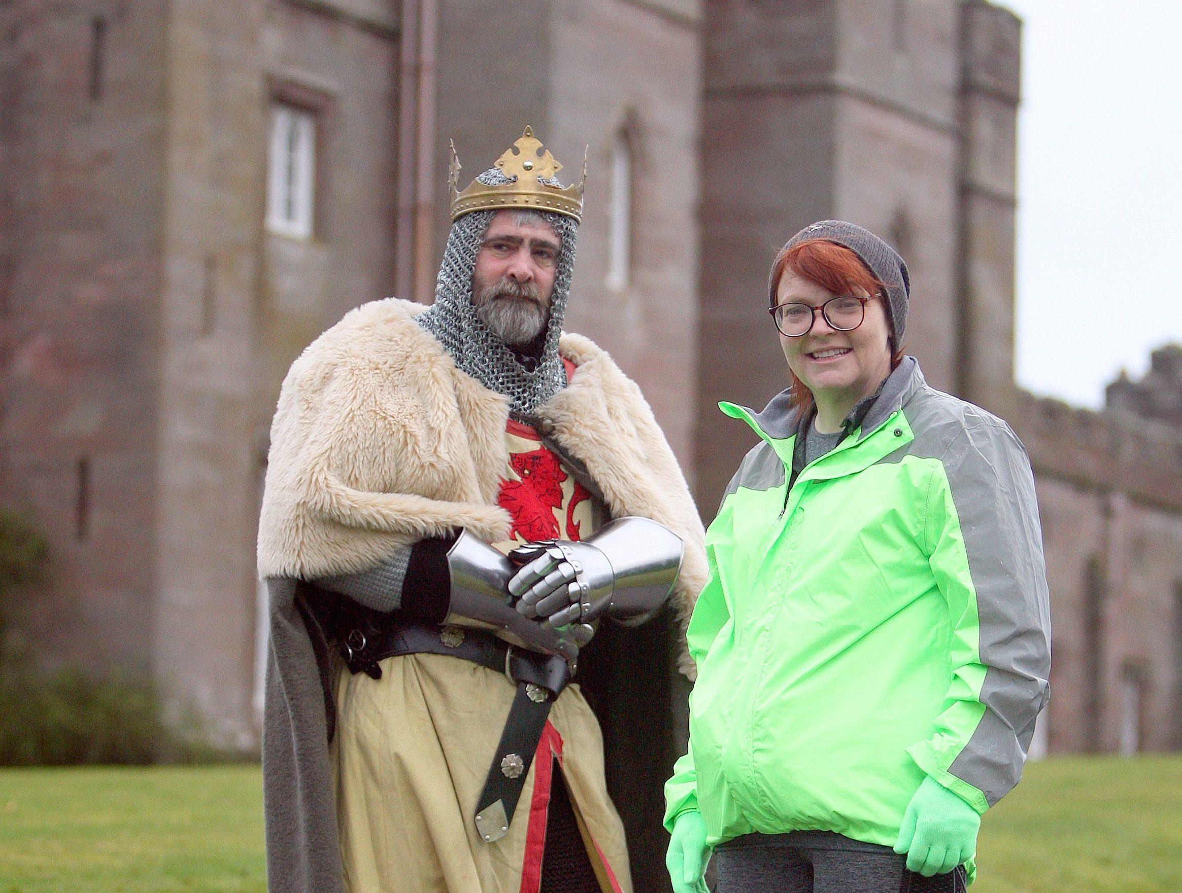 Brian McCutcheon as Robert the Bruce with partner Gina Craig at Scone Palace.