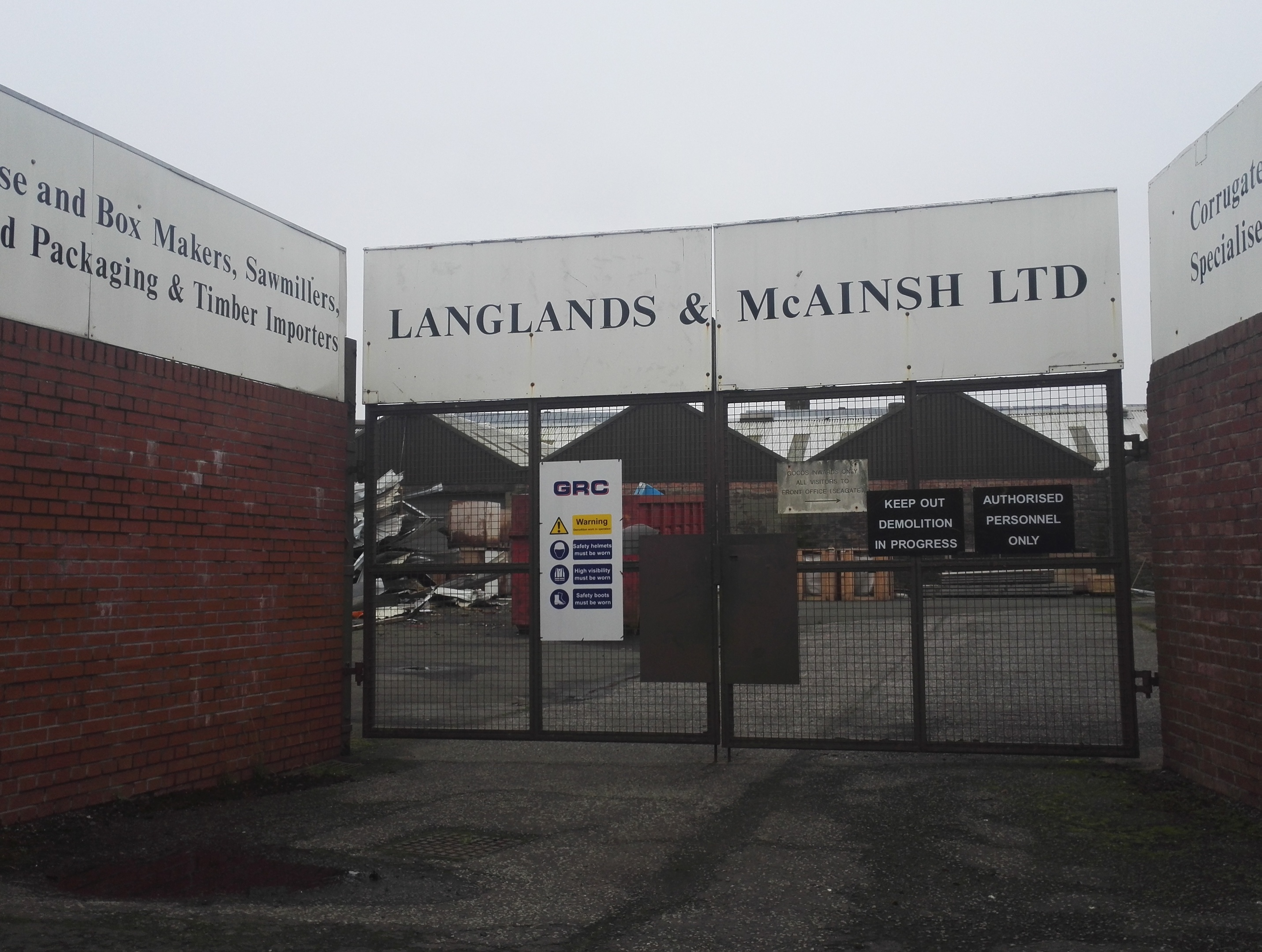 The locked gates at Langlands & McAinsh.