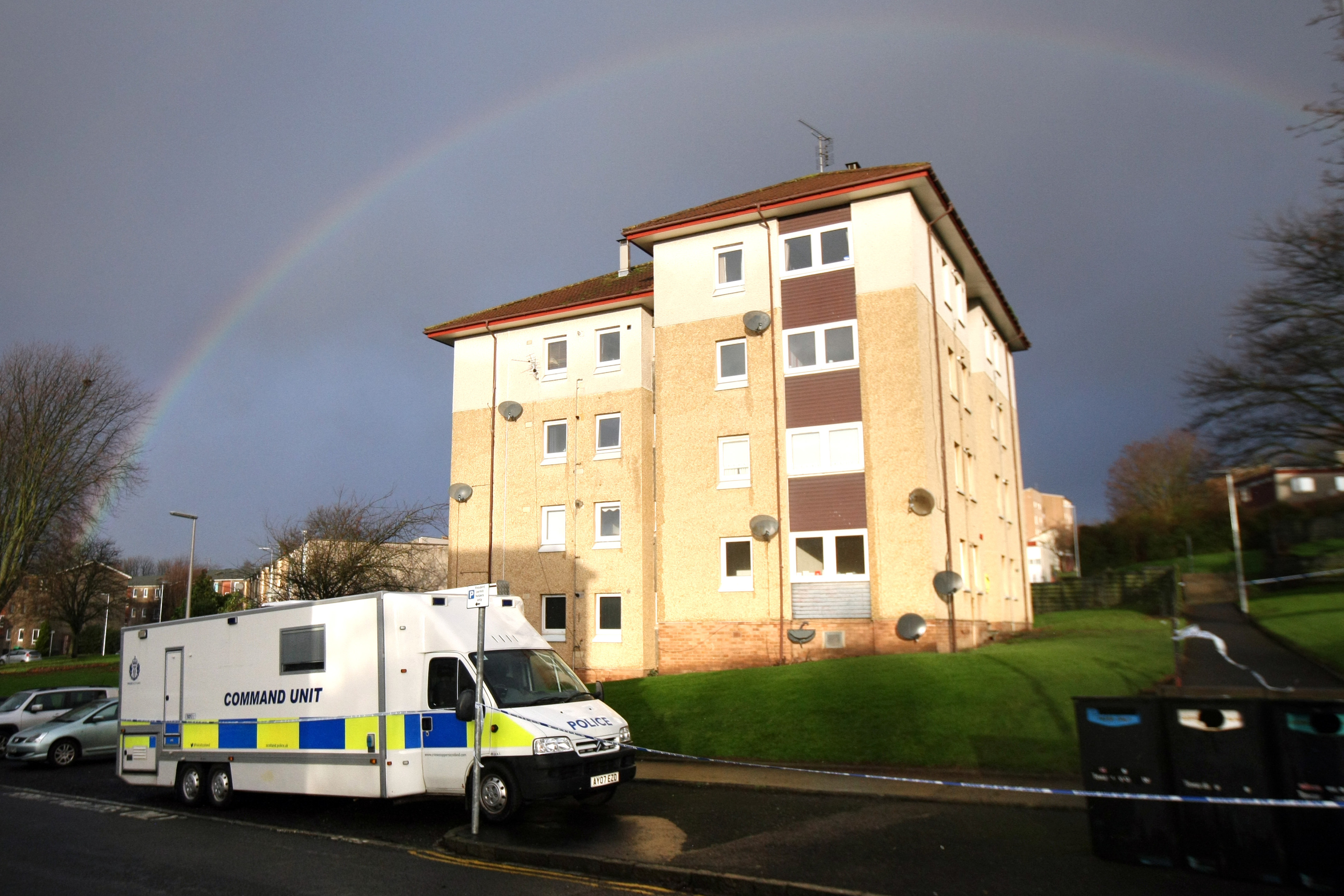 Police at Thurso Crescent shortly after the death.