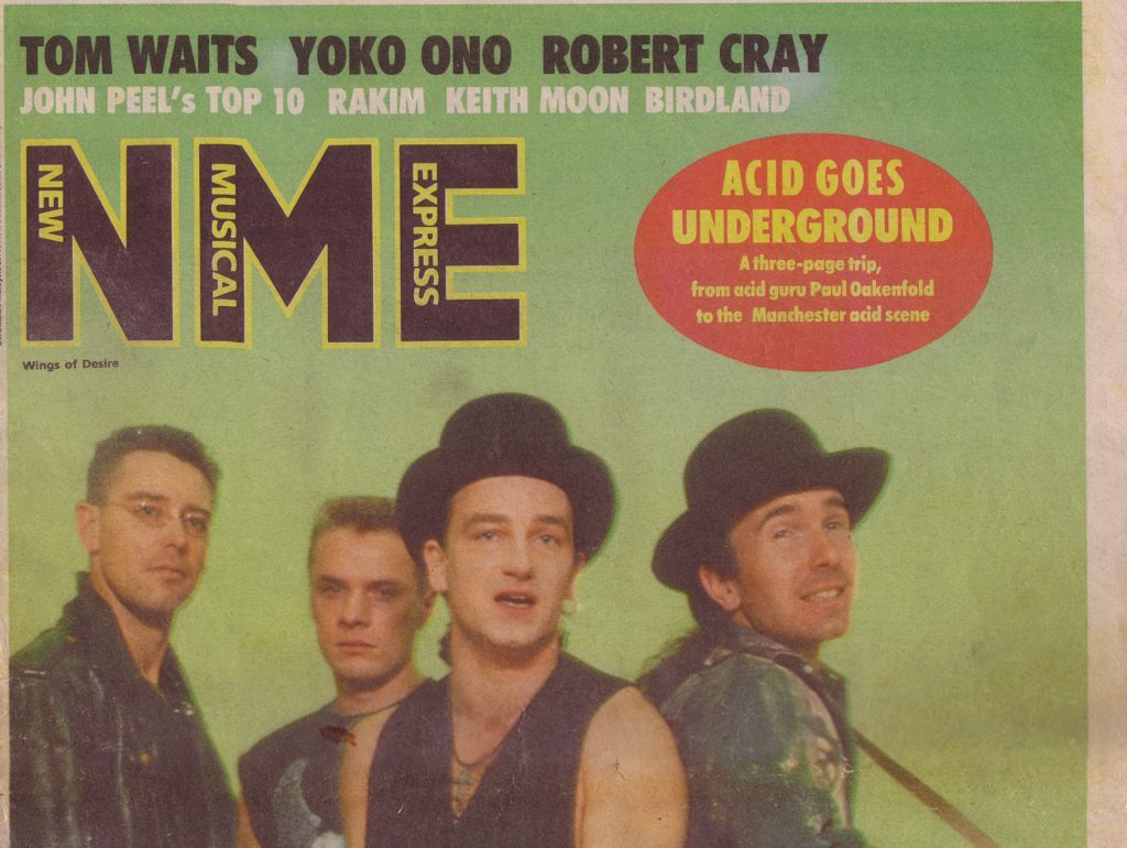 U2 on the cover of NME in 1988