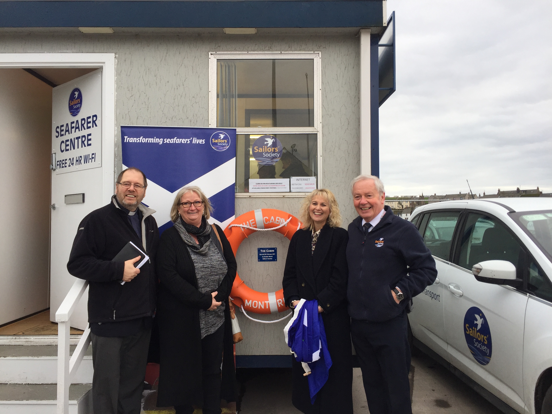Reverend Geoff Redmayne, Jill Whittick of Kinnes Shipping Ltd, Sandra Welch and Peter Donald of Sailors' Society.