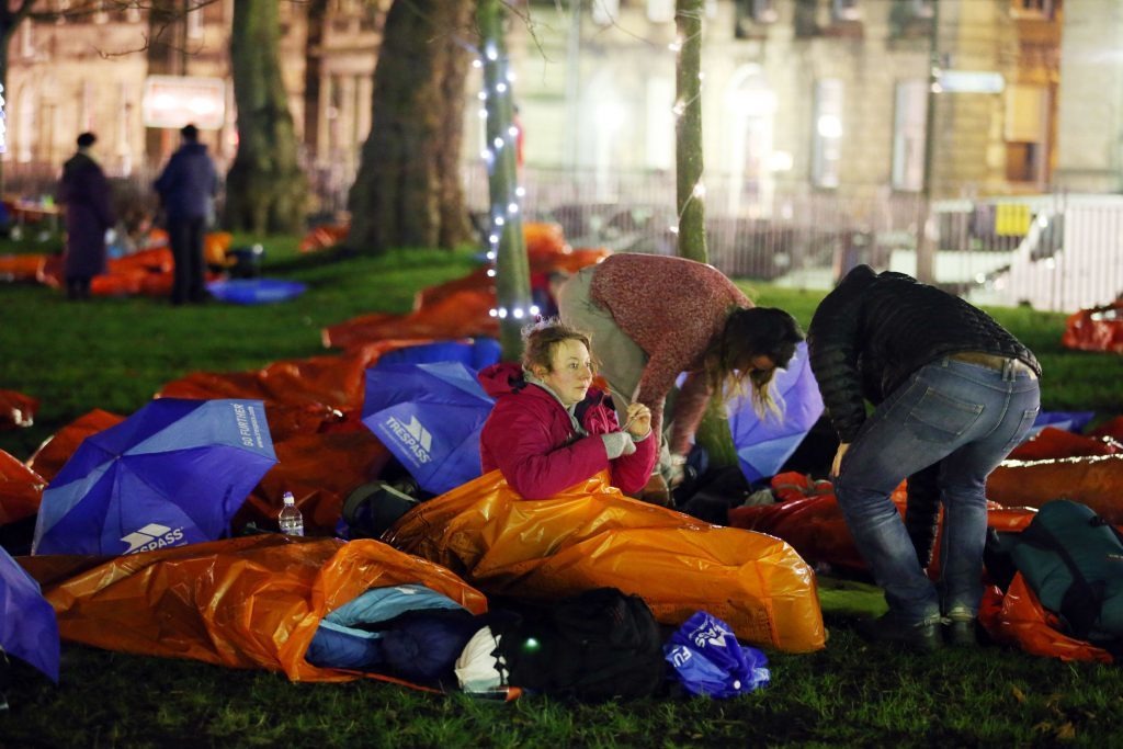 Participants camp down for the first Social Bite CEO Sleepout in December