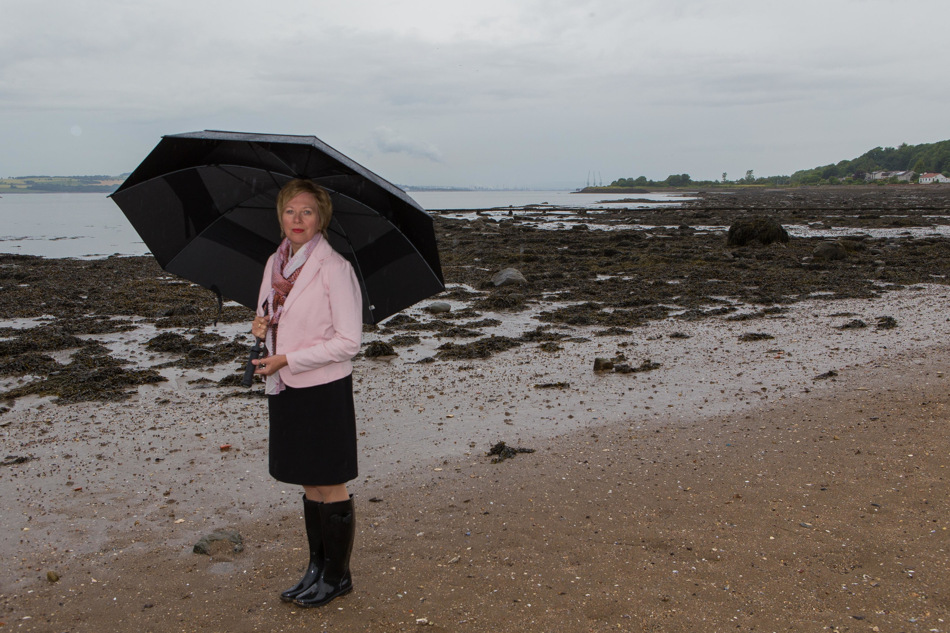 Councillor Lesley Laird overlooking the Firth of Forth, which energy firms had considered using as a location for controversial UCG (Underground Coal Gasification).