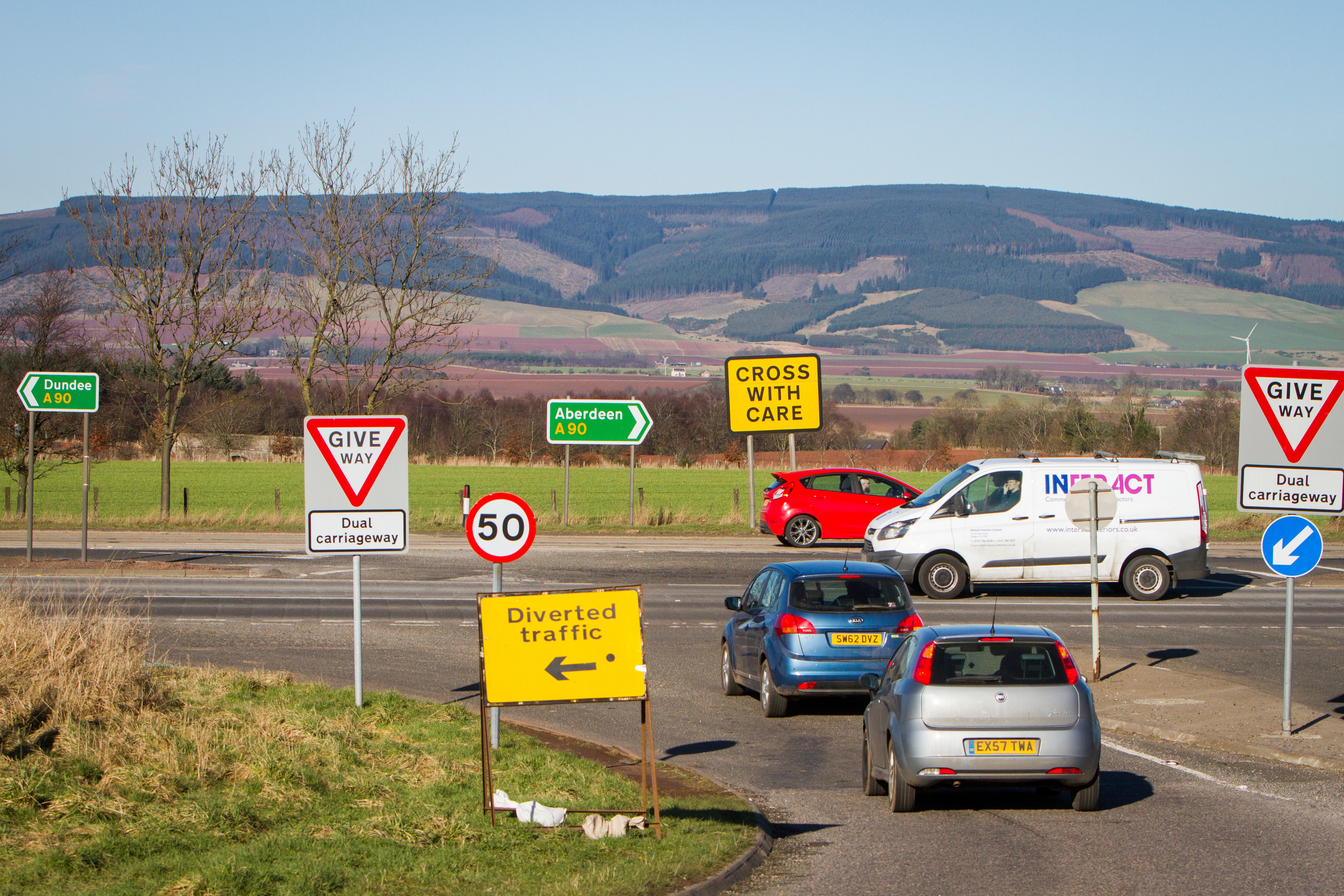 The A90 at Laurencekirk.