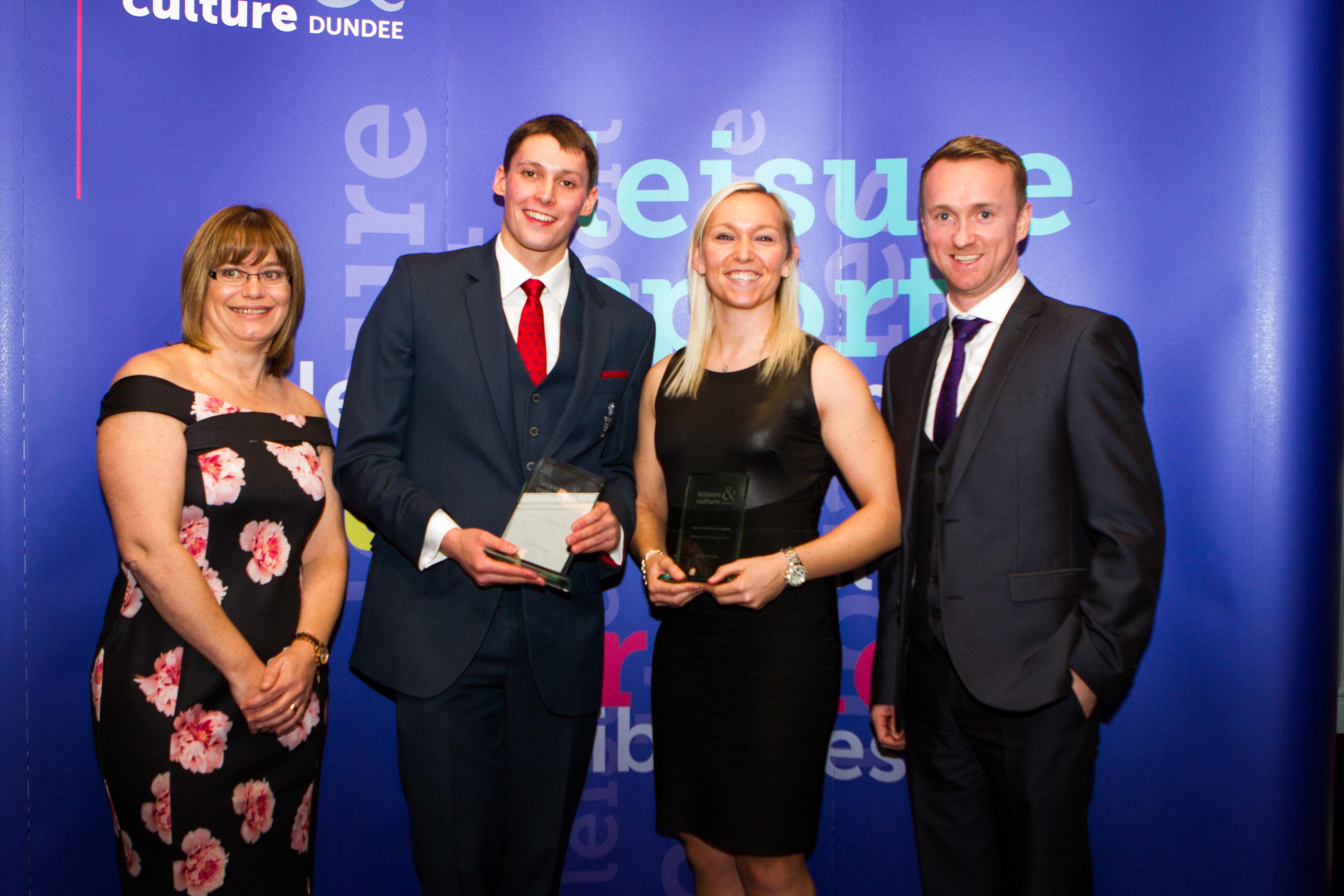 Susan Melville (Leisure & Culture Dundee), Stephen Milne (Olympian), Sarah Wilson (Olympian) and John McCafferty (Leisure & Culture Dundee).