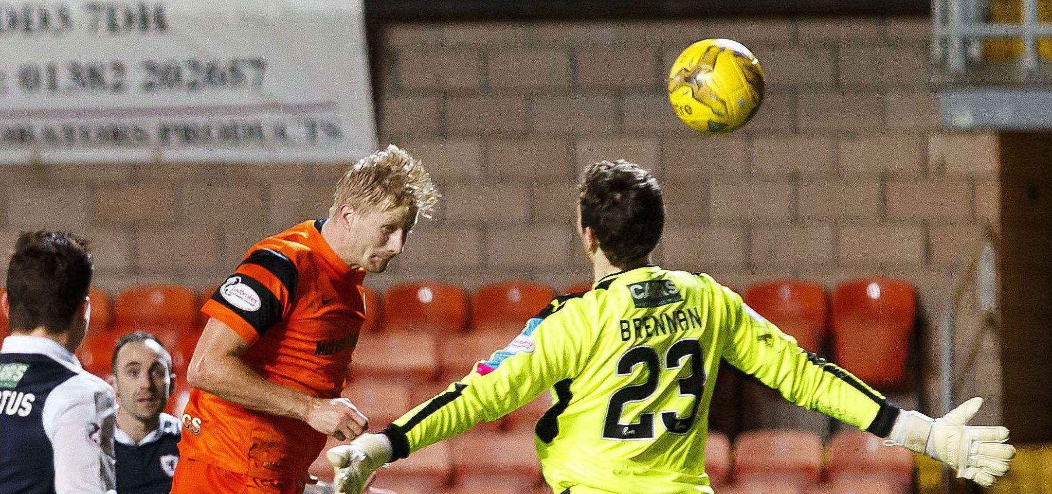 Thomas Mikkelsen scores his first goal on Saturday.