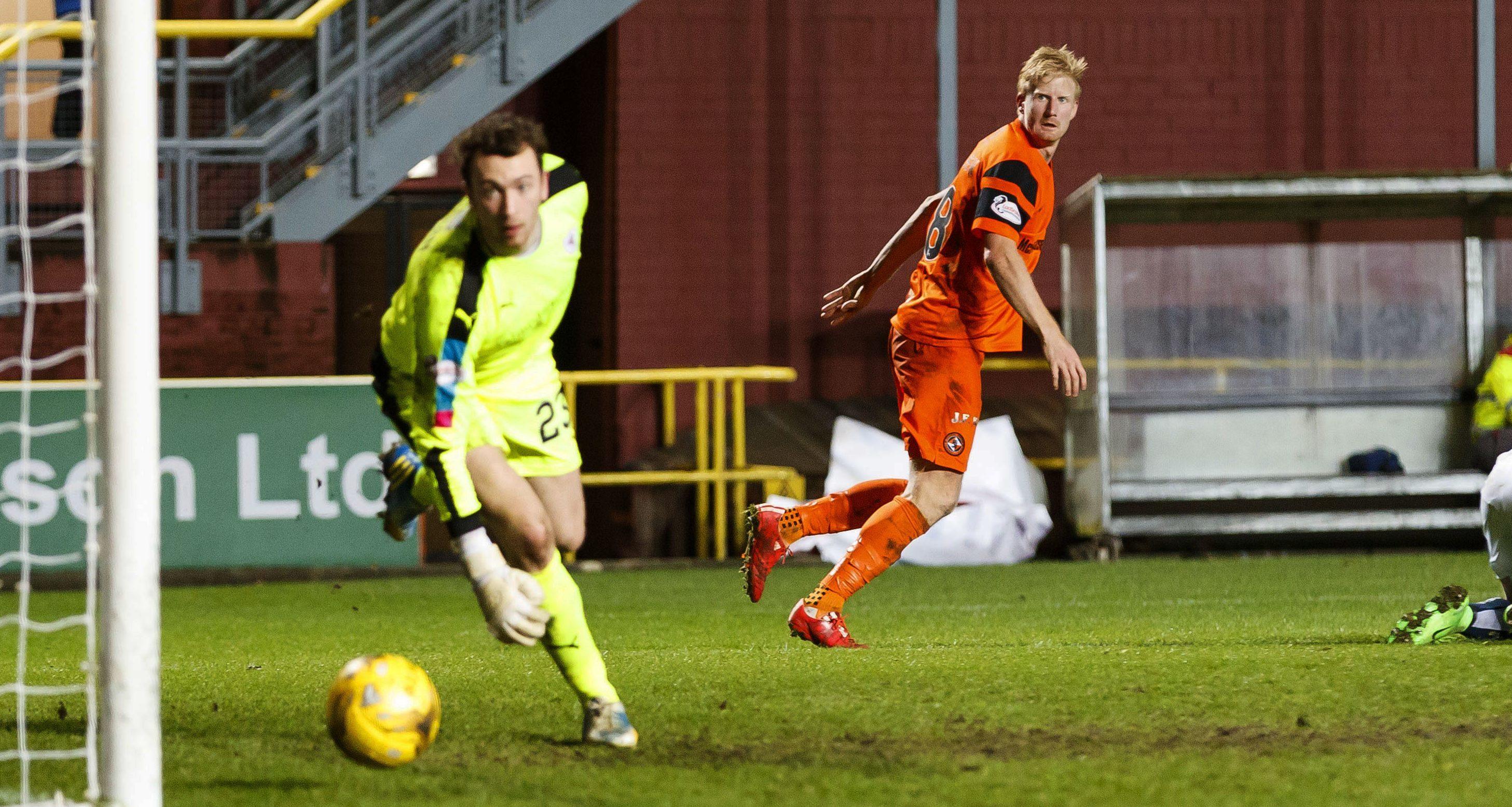 Thomas Mikkelsen scores his second goal on Saturday.