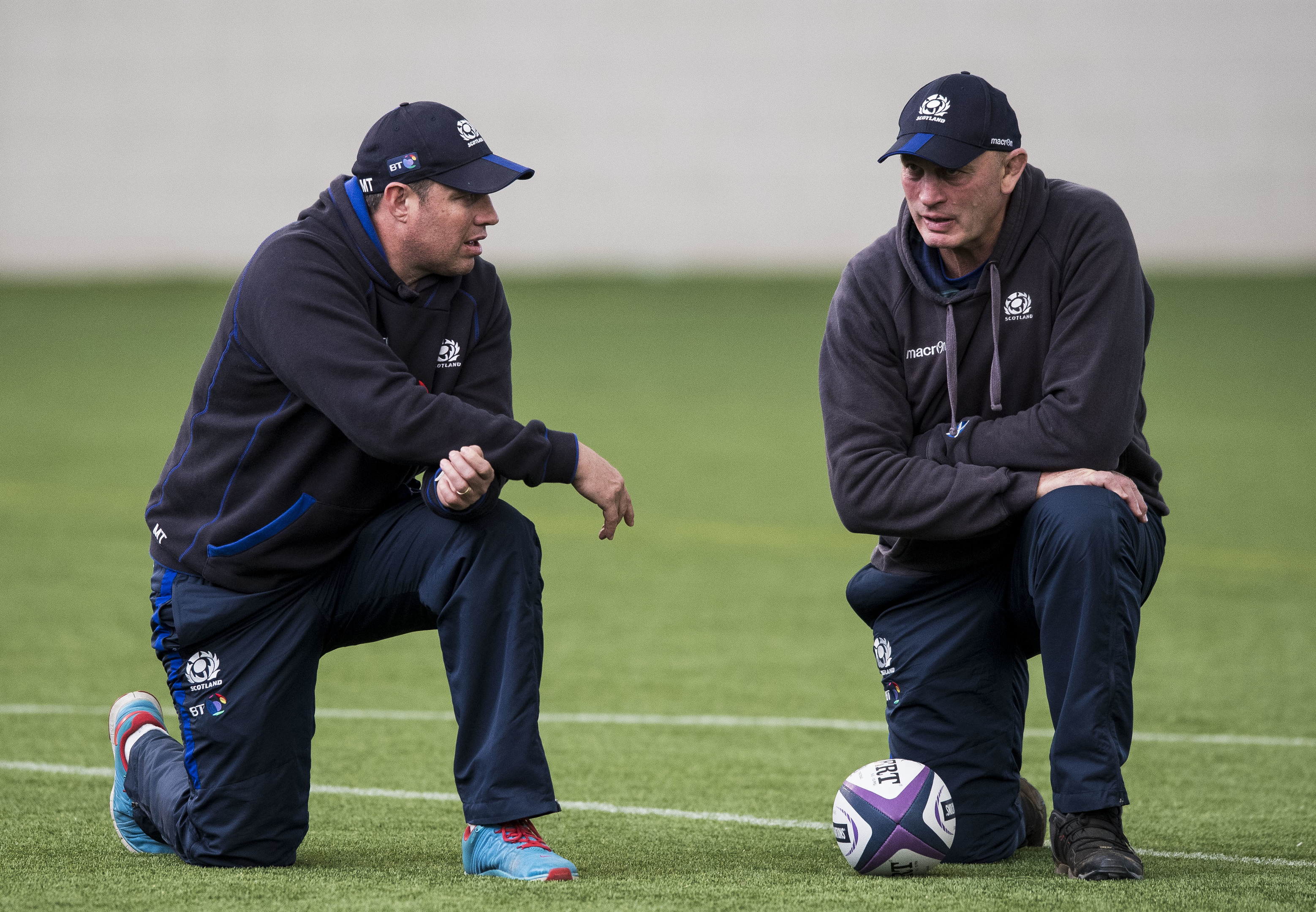 Assistant coach Matt Taylor (left) and Vern Cotter plot tactics at Scotland's training session at Oriam.