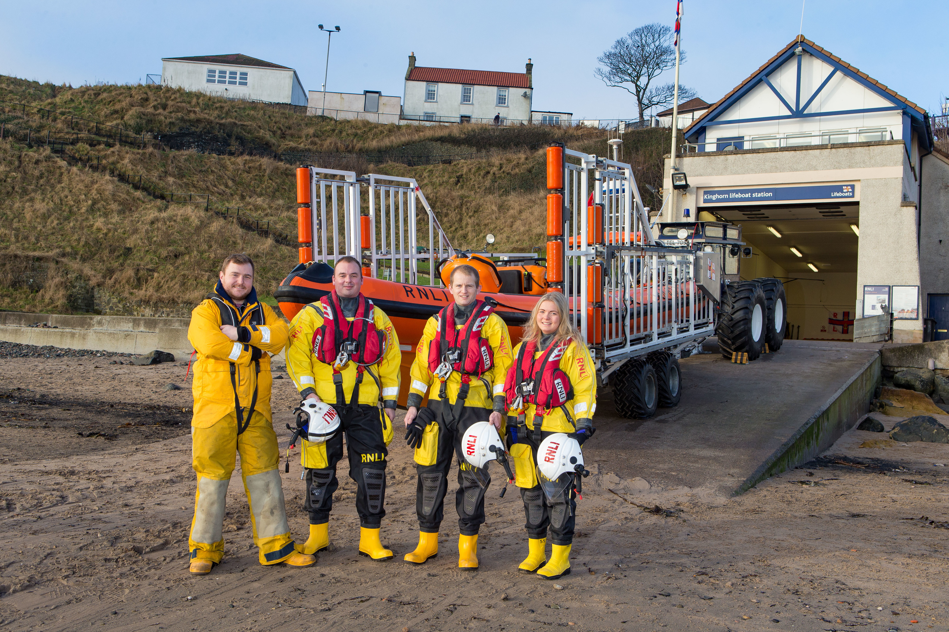 Pictured: Crew Kenny Davidson, Richard Malcomson, Neil Chalmers and Megan Davidson from RNLI Lifeboat at Kinghorn.