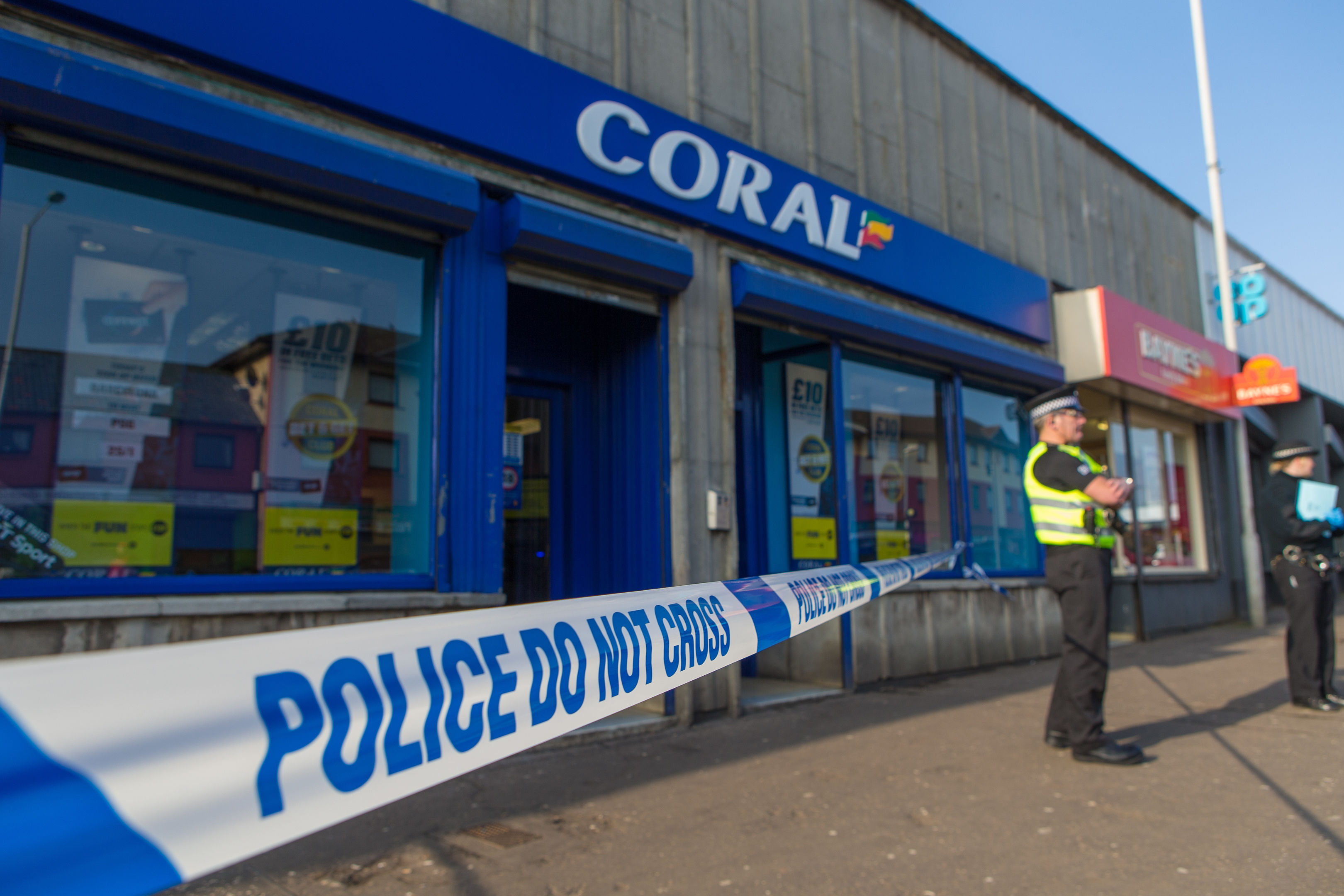 Police outside Coral bookmaker in Kirkcaldy's Templehall area