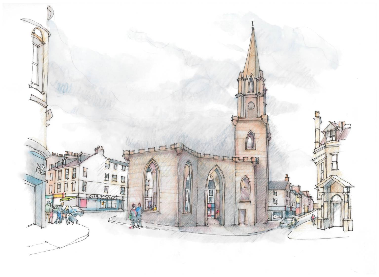 A graphic of the planned outdoor space at St Paul's Church, Perth.