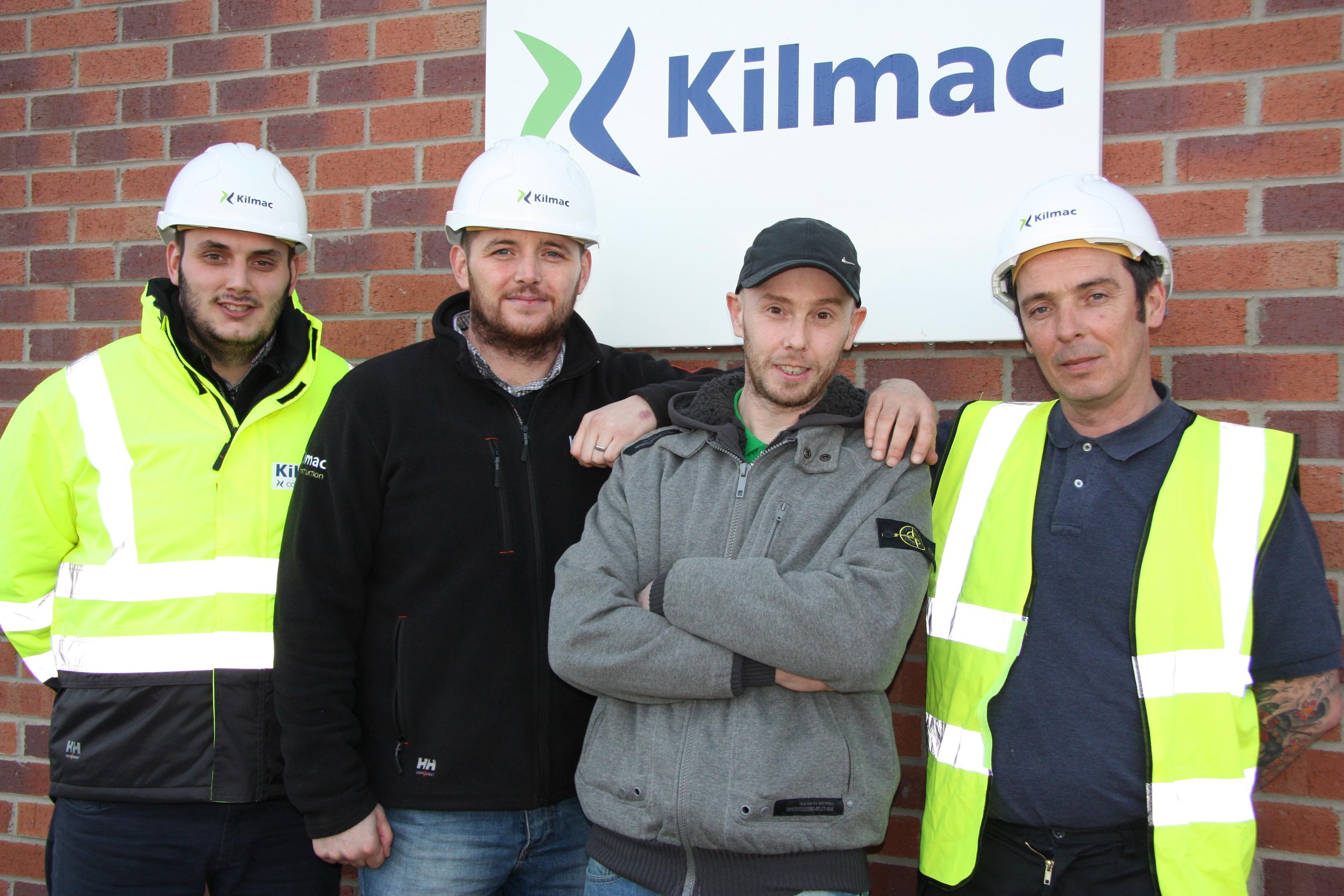 Miracle man Geordie McNaughton with Kilmac colleagues James Wilson, Jason Edward and Neil Riley.