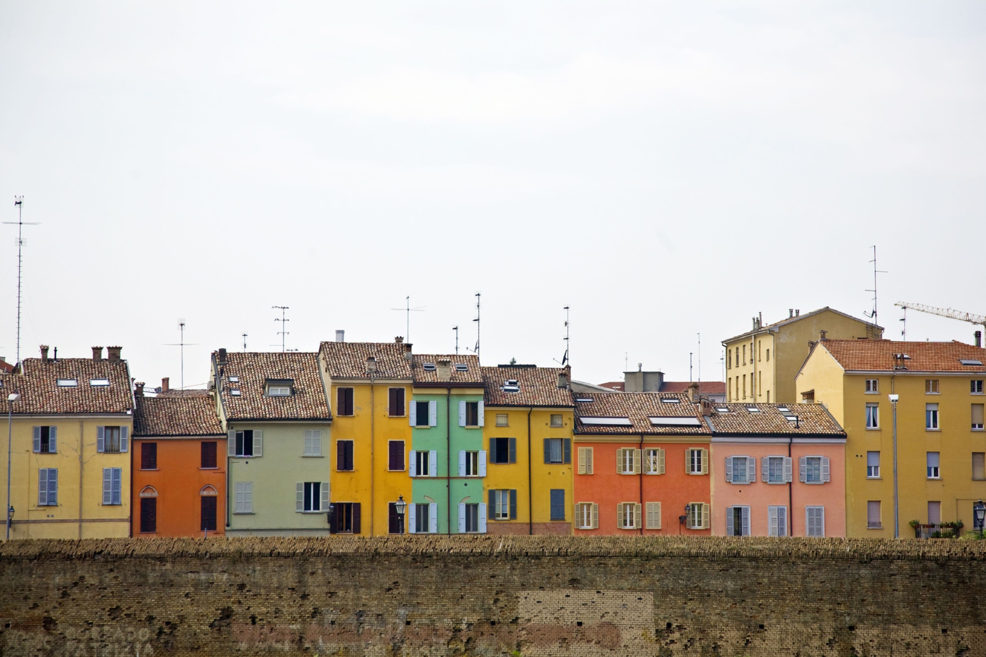 Colourful houses in Parma.
