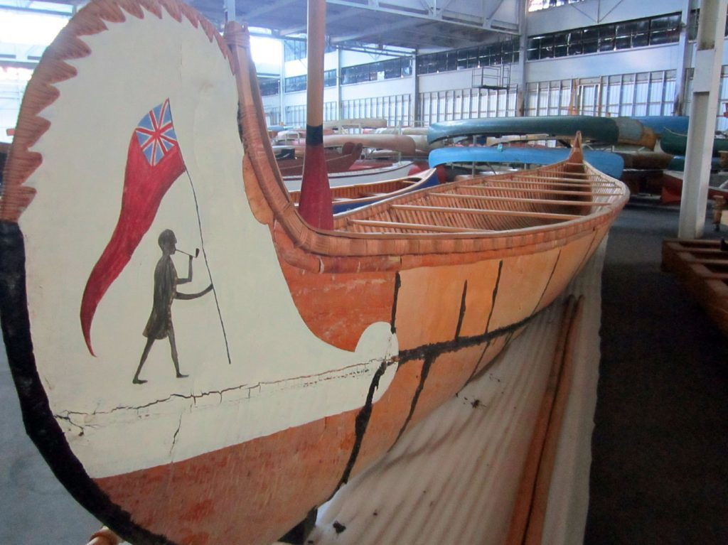 Photo of an old canoe at Canadian Canoe Museum, Ontario.