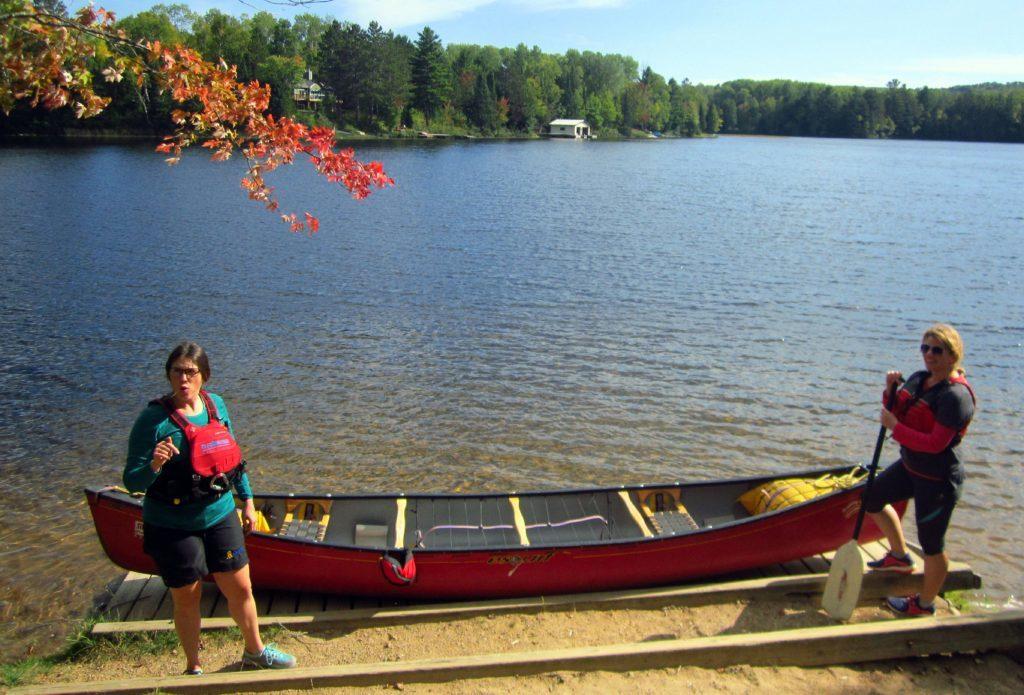 Abi Jackson with Bethany from Madawaska Kanu Centre, Ontario, at Mud Lake.