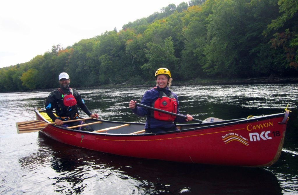 Abi Jackson getting to grips with a paddle during white water lesson with Madawaska Kanu Centre, Ontario.