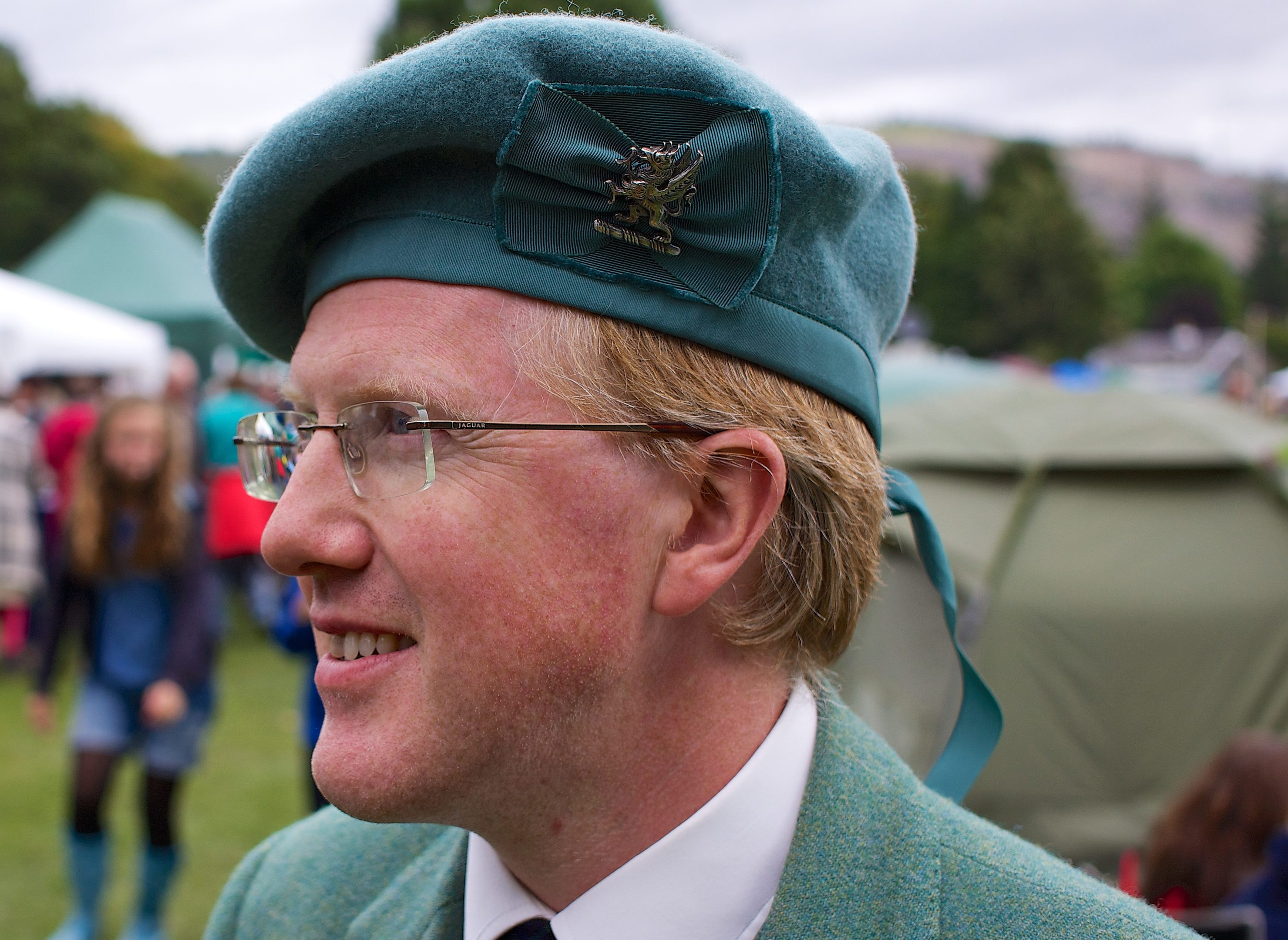 Chieftain of the Birnam Highland Games, Thomas Steuart Fothringham, at the 2014 Games.