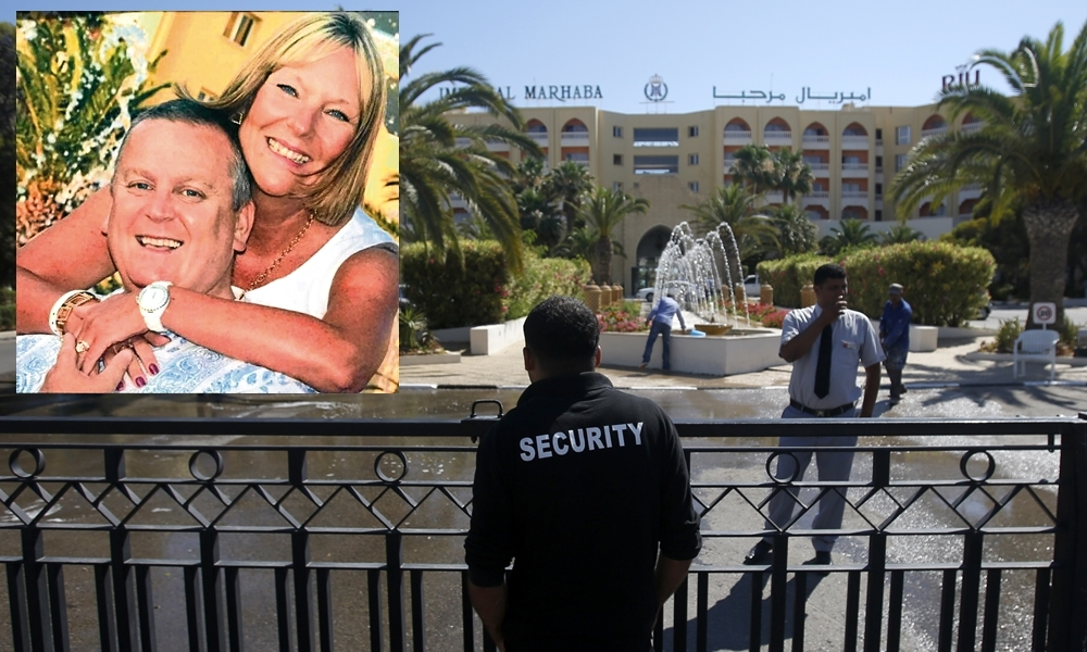 A security officer guards the entrance to the Imperial Marhaba hotel after the 2015 attack. Billy and Lisa Graham (inset) were among the victims.