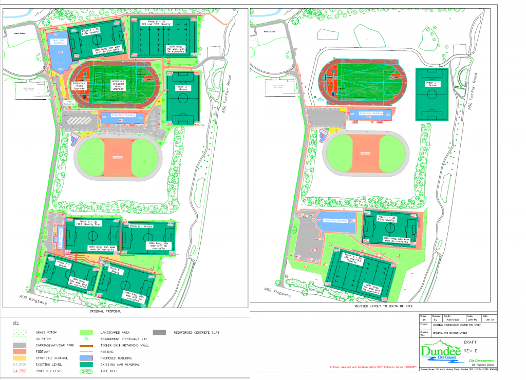 The original plans, left, and the updated plans, right.