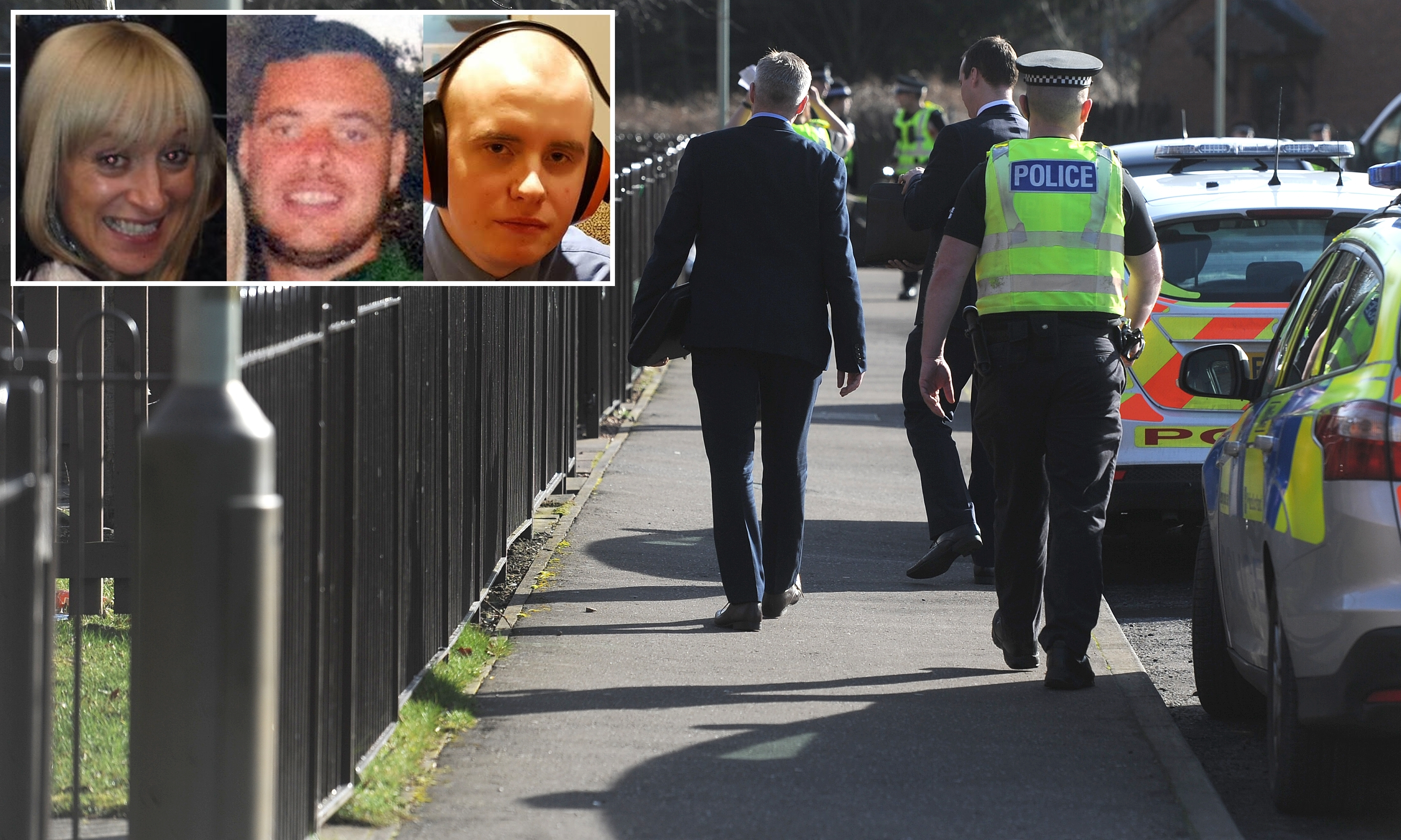 The police investigation at Drumlanrig Drive. Inset (from left) Julie McCash, David Sorrie and Ralph Smith.