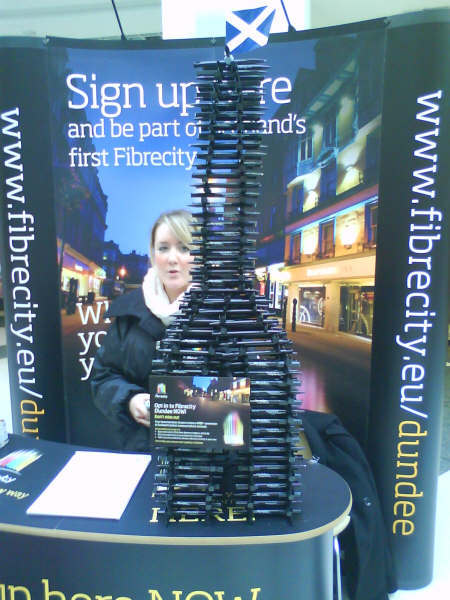 Staff at the Fibrecity information stand in the Wellgate Centre, grabbed people's attention by creating models of famous buildings, constructed entirely out of pens. including this one of the Scott Monument.
